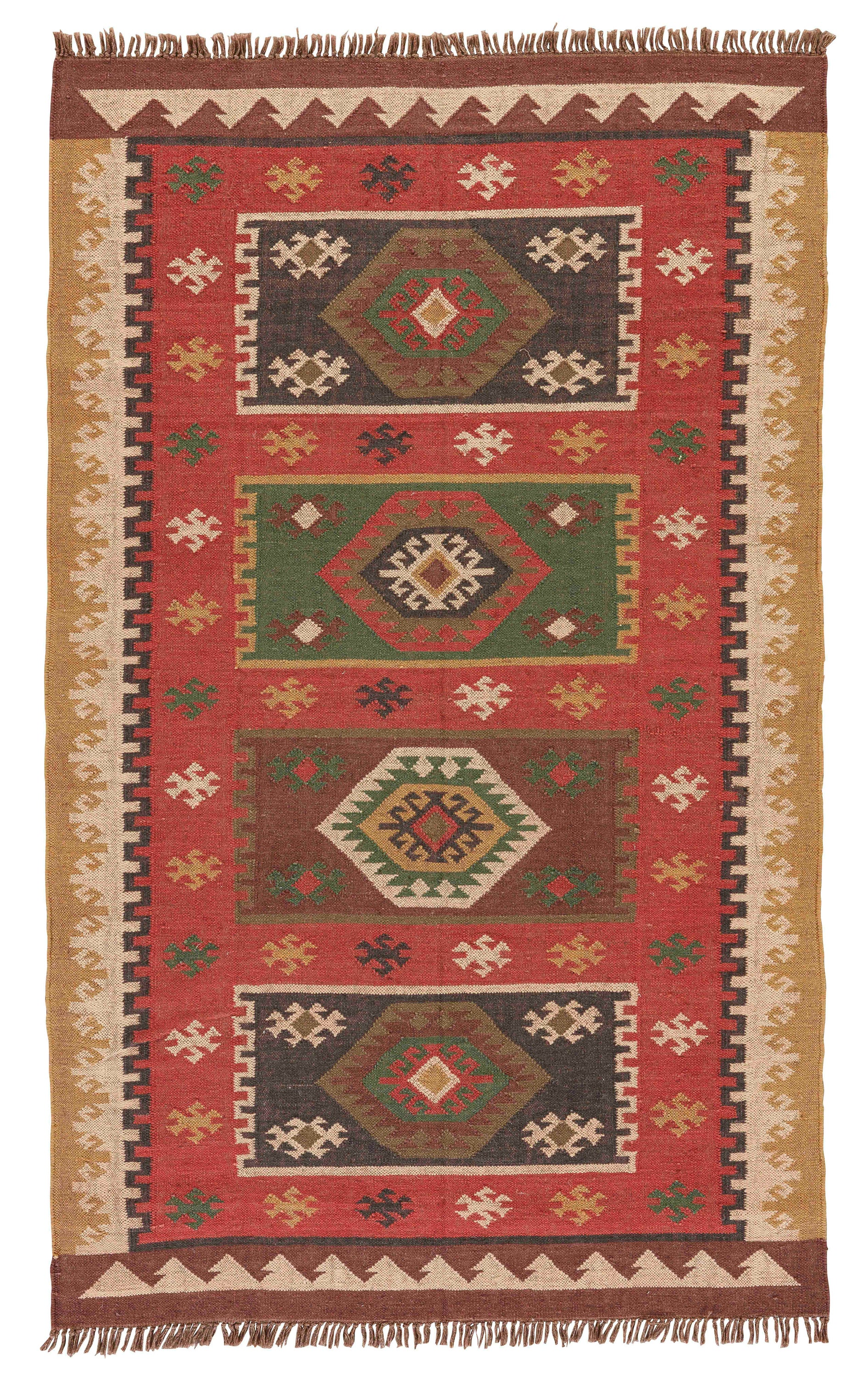 Rectangle 4x6 Red Geometric Dhurrie Jute & Natural Fibers Southwestern recommended for Kitchen, Bedroom, Bathroom, Dining Room, Office, Hallway, Living Room