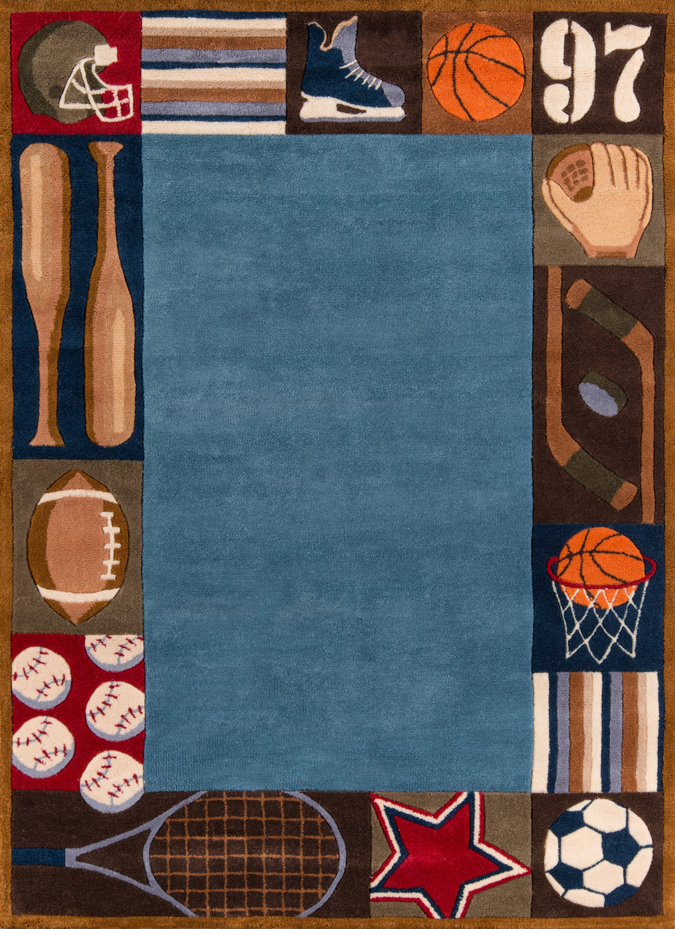 Rectangle, Round 3x5 Blue Novelty Hand Tufted Synthetics Contemporary recommended for Kids