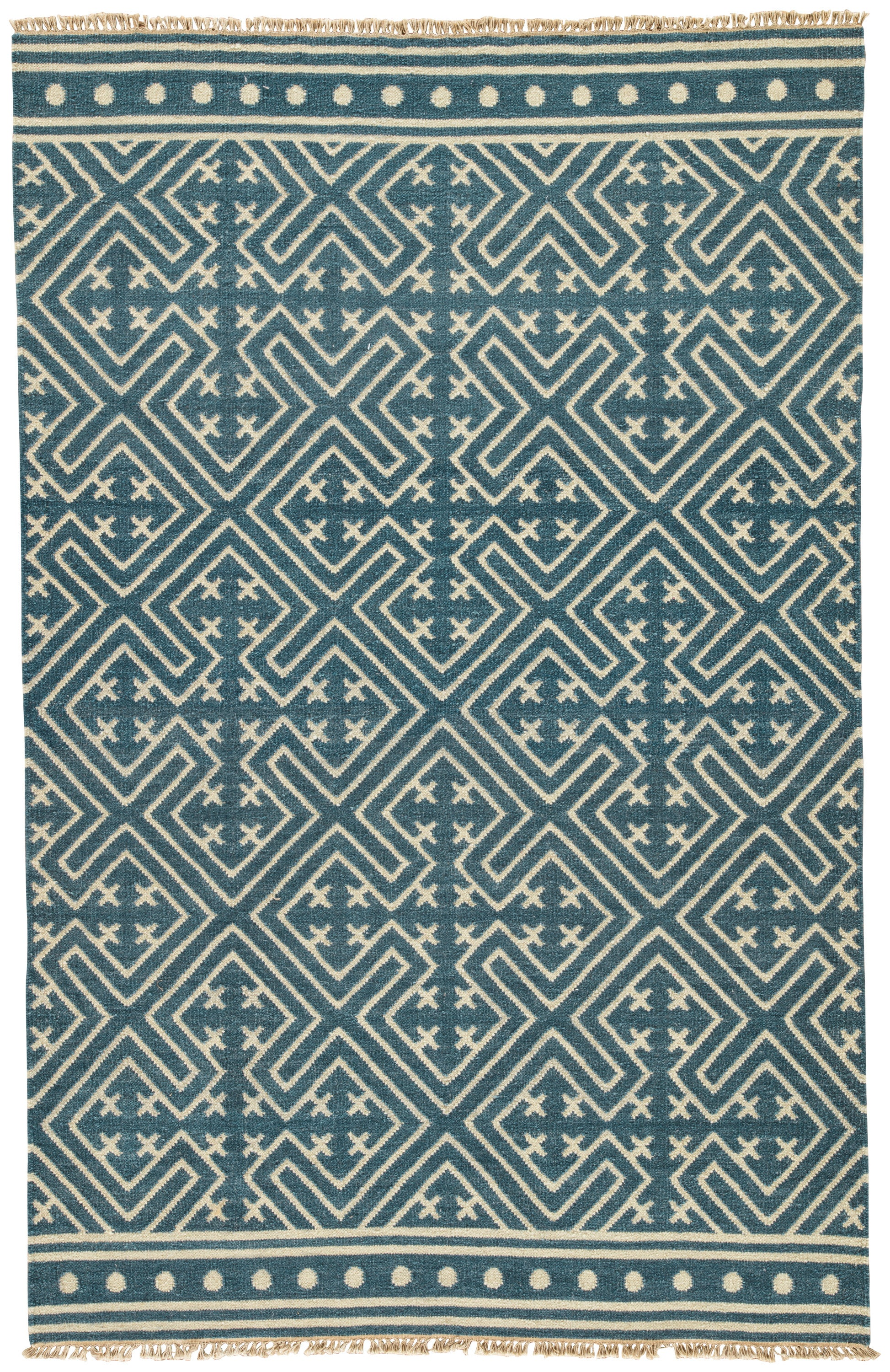 Rectangle Blue Geometric Dhurrie Wool Contemporary recommended for Bedroom, Bathroom, Dining Room, Office, Hallway, Living Room