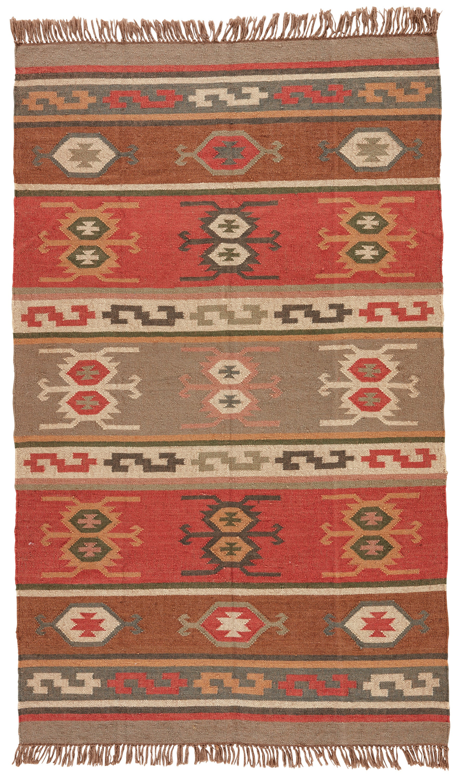 Rectangle Multicolor Geometric Dhurrie Jute & Natural Fibers Southwestern recommended for Kitchen, Bedroom, Bathroom, Dining Room, Office, Hallway, Living Room