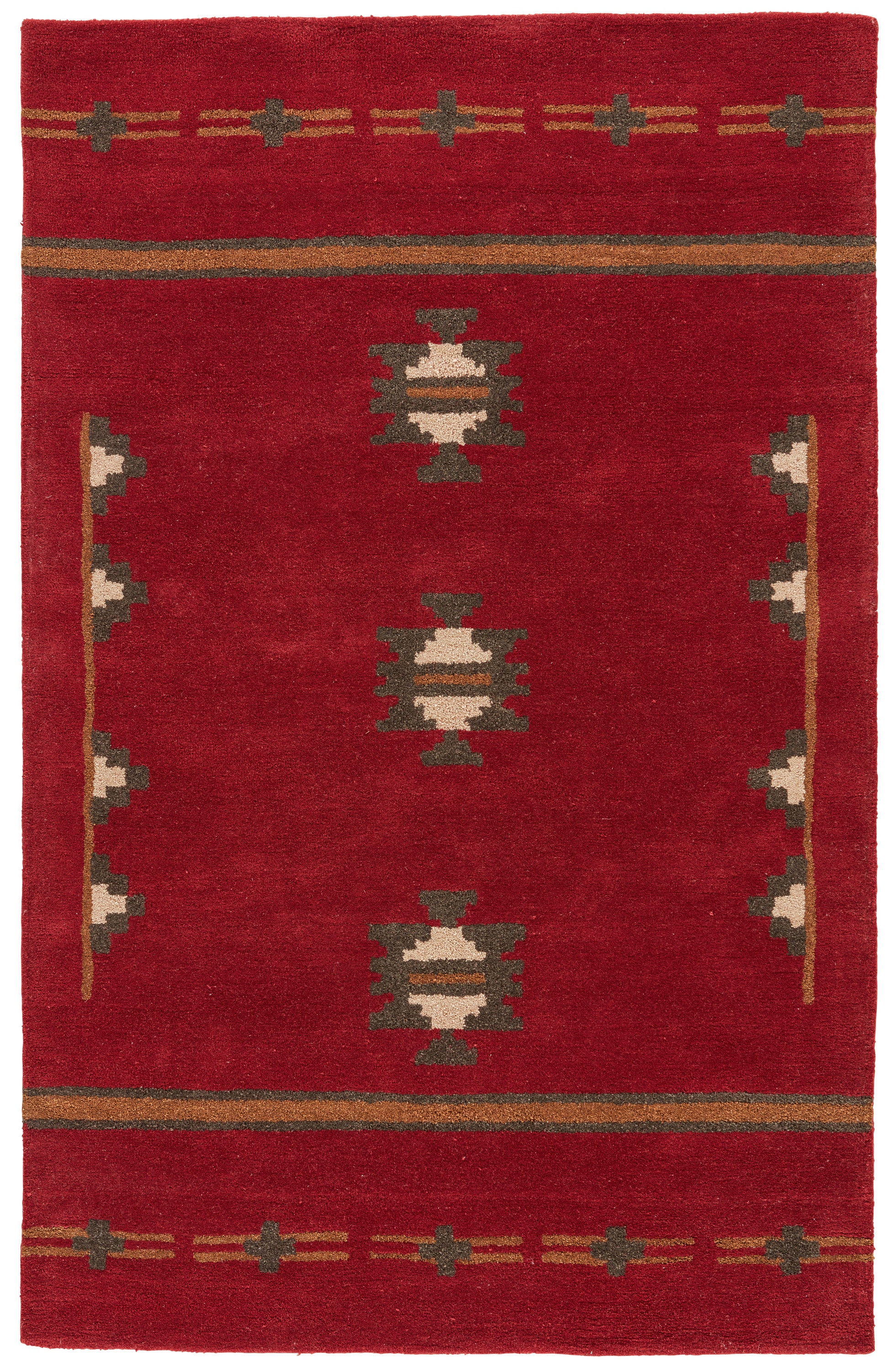 Rectangle 5x8 Red Medallion Hand Tufted Wool Southwestern recommended for Bedroom, Bathroom, Dining Room, Office, Hallway, Living Room