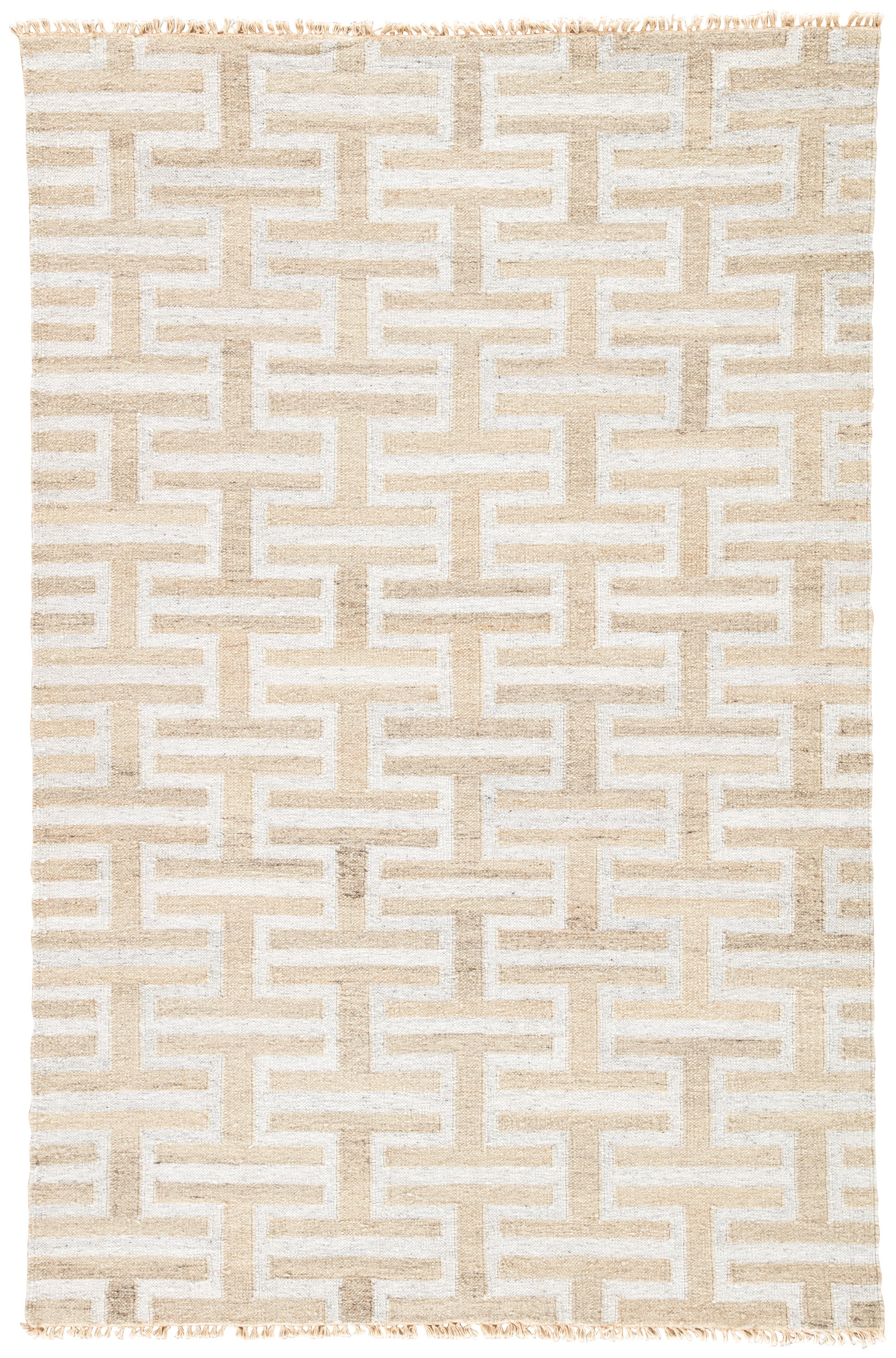 Rectangle Beige Geometric Dhurrie Blends Transitional recommended for Bedroom, Bathroom, Dining Room, Office, Hallway, Living Room