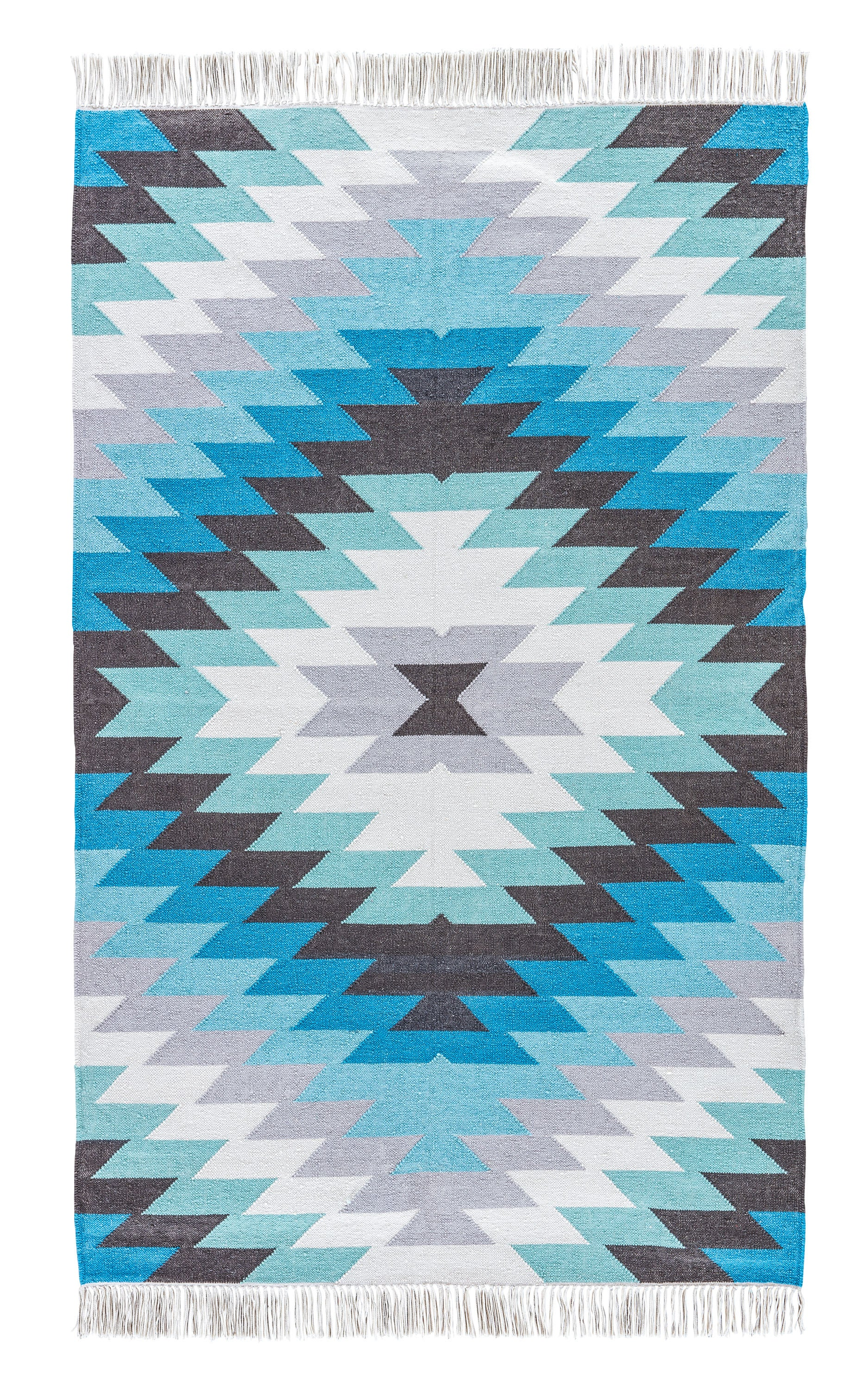 Rectangle Blue Geometric Hand Woven Synthetics Southwestern recommended for Kitchen, Bedroom, Bathroom, Outdoor, Dining Room, Office, Hallway, Living Room