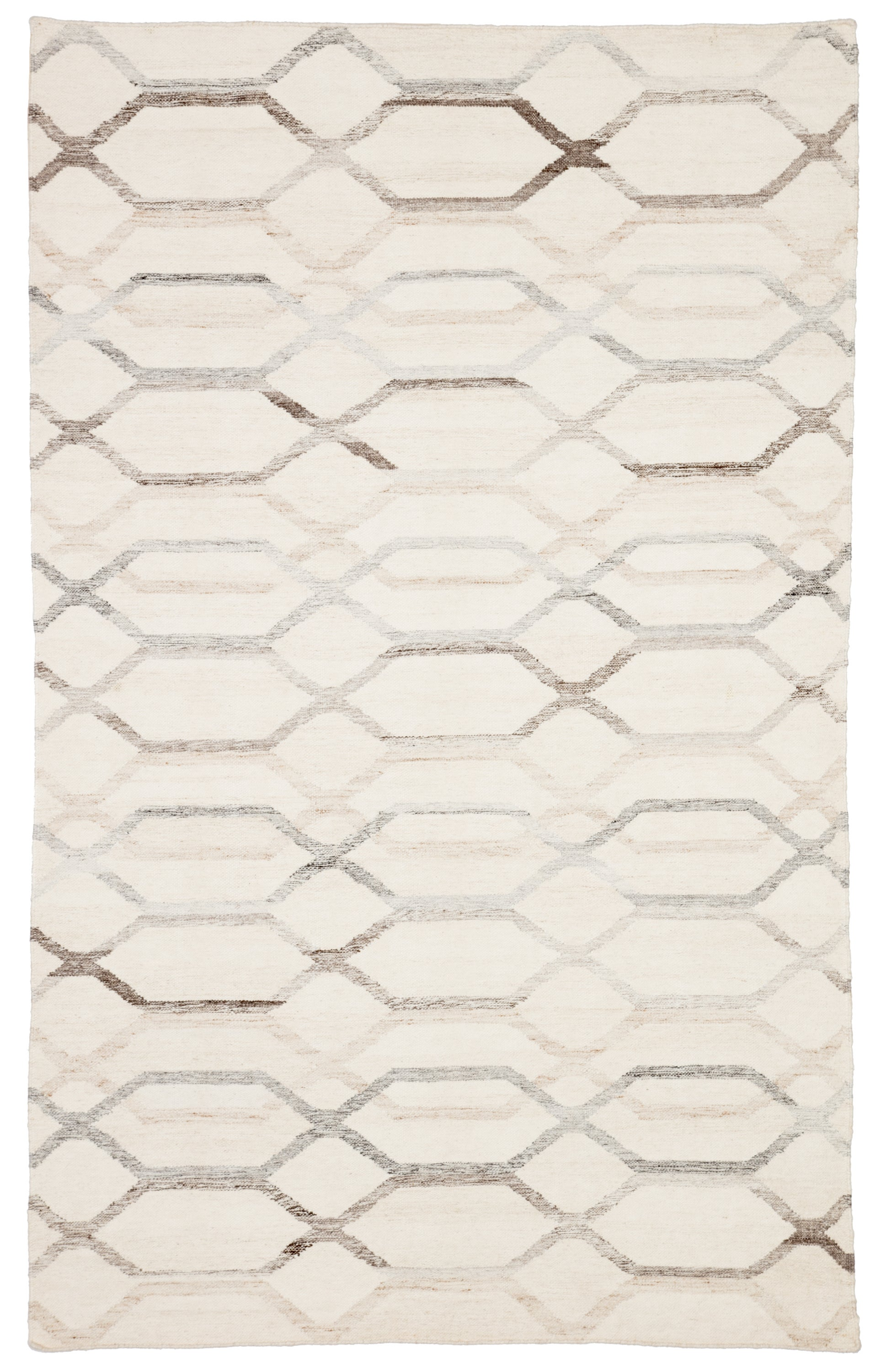 Rectangle Cream Trellis Dhurrie Blends Contemporary recommended for Bedroom, Bathroom, Dining Room, Office, Hallway, Living Room