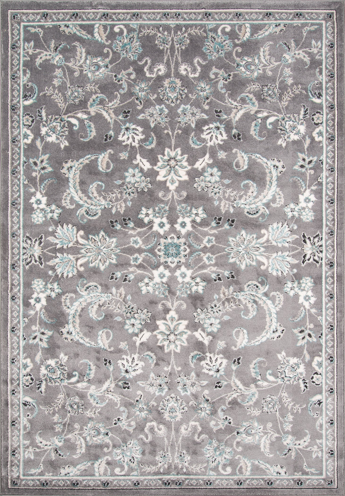 Rectangle Gray Floral Machine Made Synthetics Transitional recommended for Kitchen, Bedroom, Bathroom, Dining Room, Office, Hallway, Living Room
