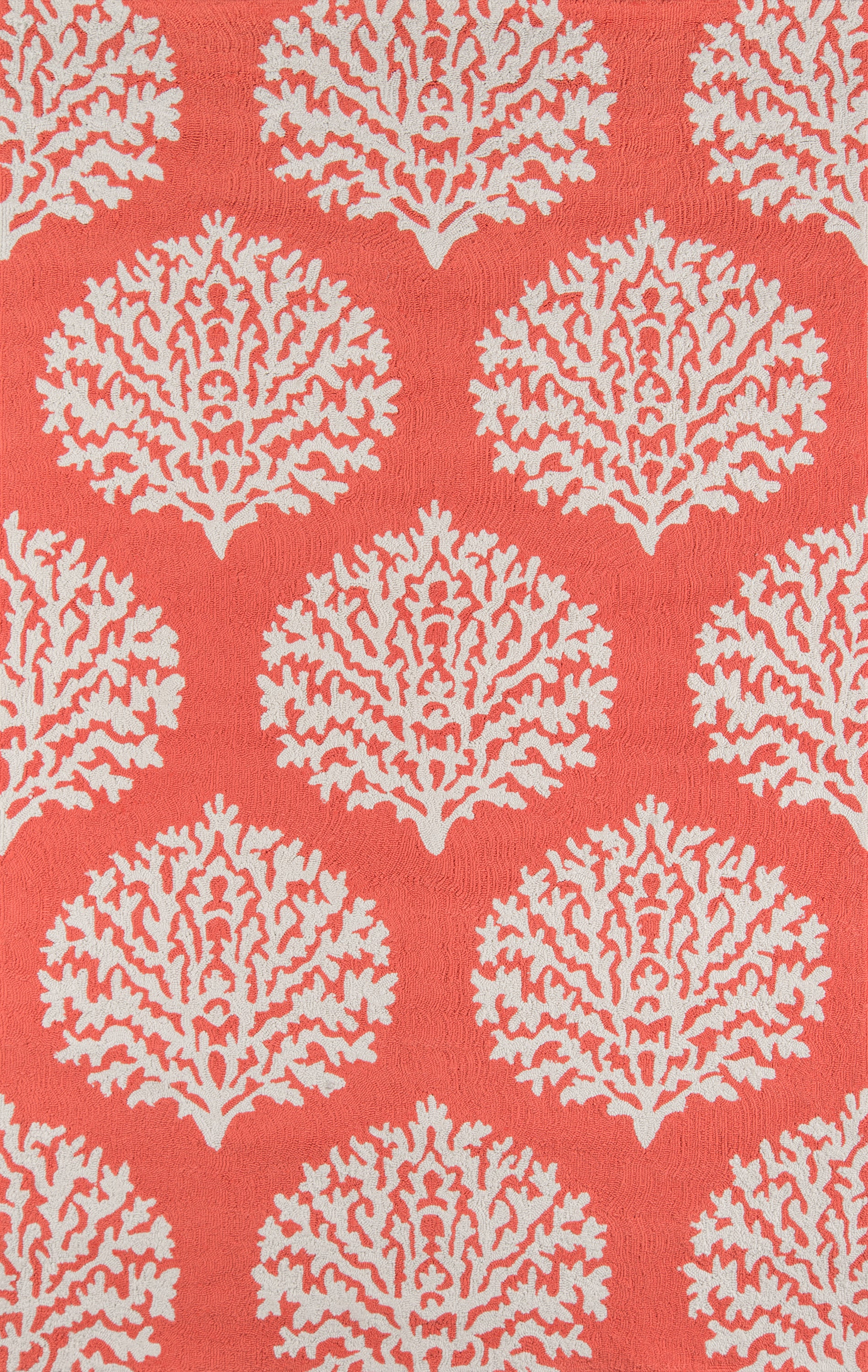 Rectangle, Round 5x8 Coral Damask Hand Hooked Synthetics Contemporary recommended for Bedroom, Bathroom, Outdoor, Dining Room, Office, Hallway, Living Room