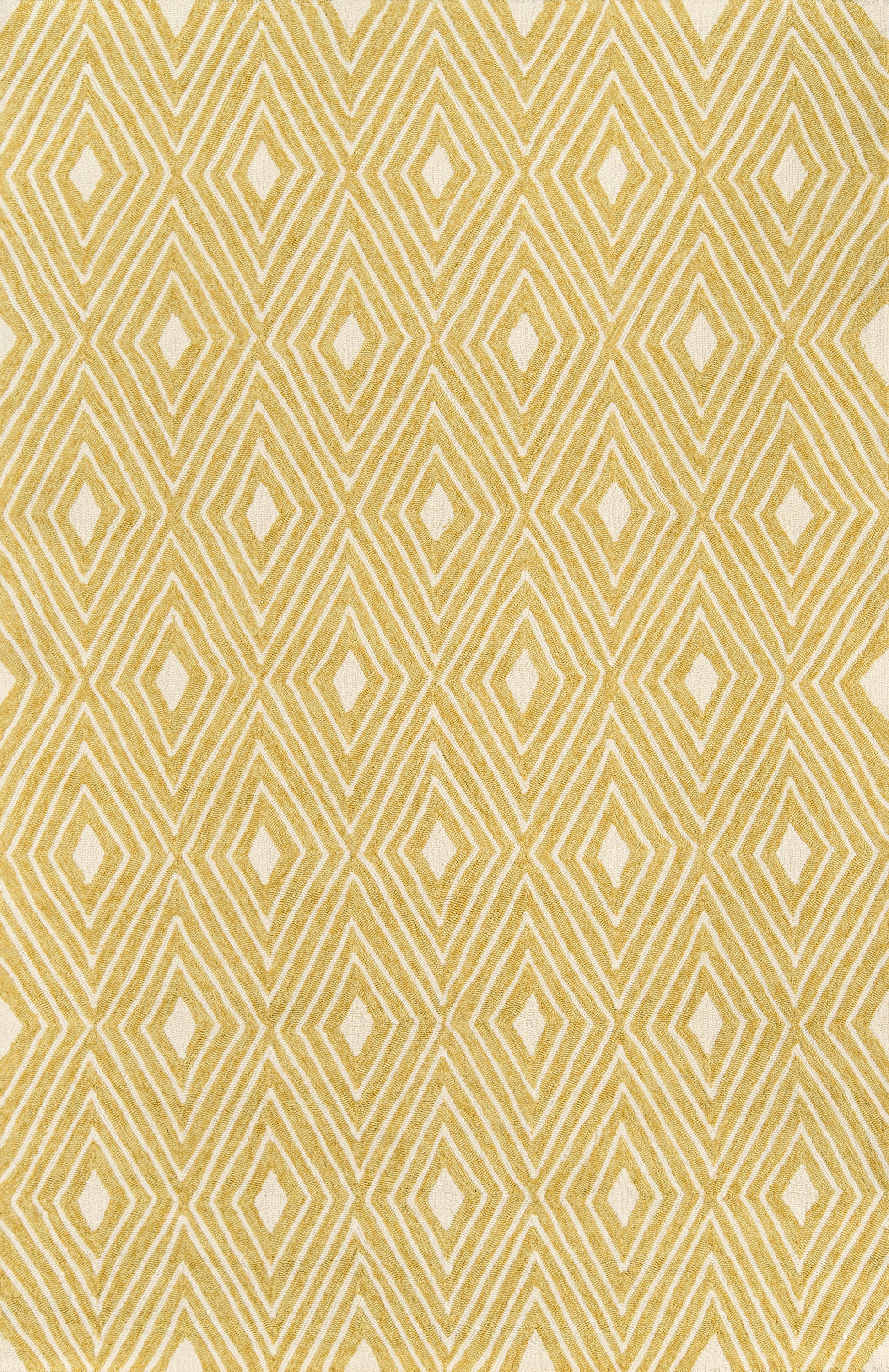 Rectangle, Round 2x3 Yellow Diamond Hand Hooked Synthetics Contemporary recommended for Bedroom, Bathroom, Outdoor, Dining Room, Office, Hallway, Living Room