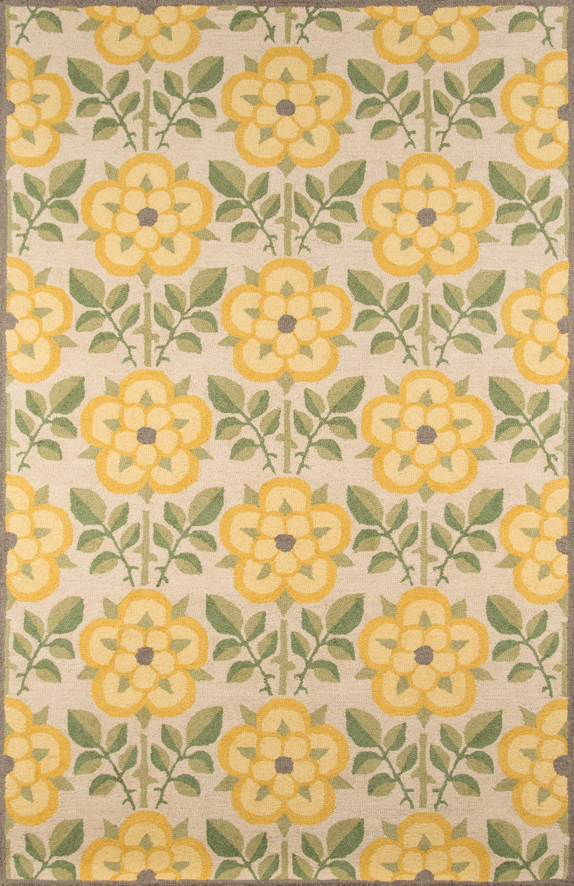 Rectangle 2x3 Yellow Floral Hand Tufted Wool Contemporary recommended for Kitchen, Bedroom, Bathroom, Dining Room, Office, Hallway, Living Room