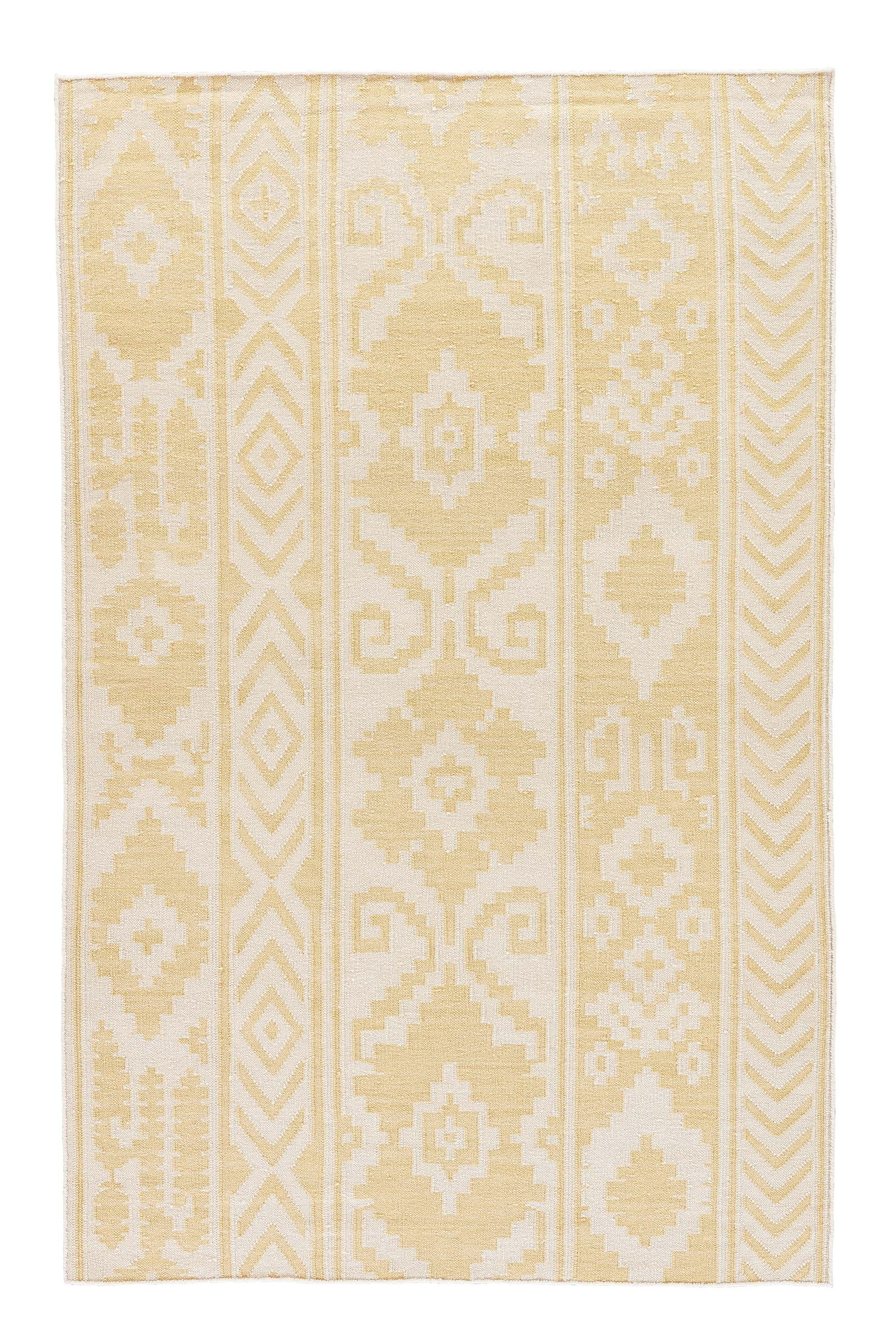 Rectangle Yellow Ikat Dhurrie Wool Boho/bohemian recommended for Kitchen, Bedroom, Bathroom, Dining Room, Office, Hallway, Living Room