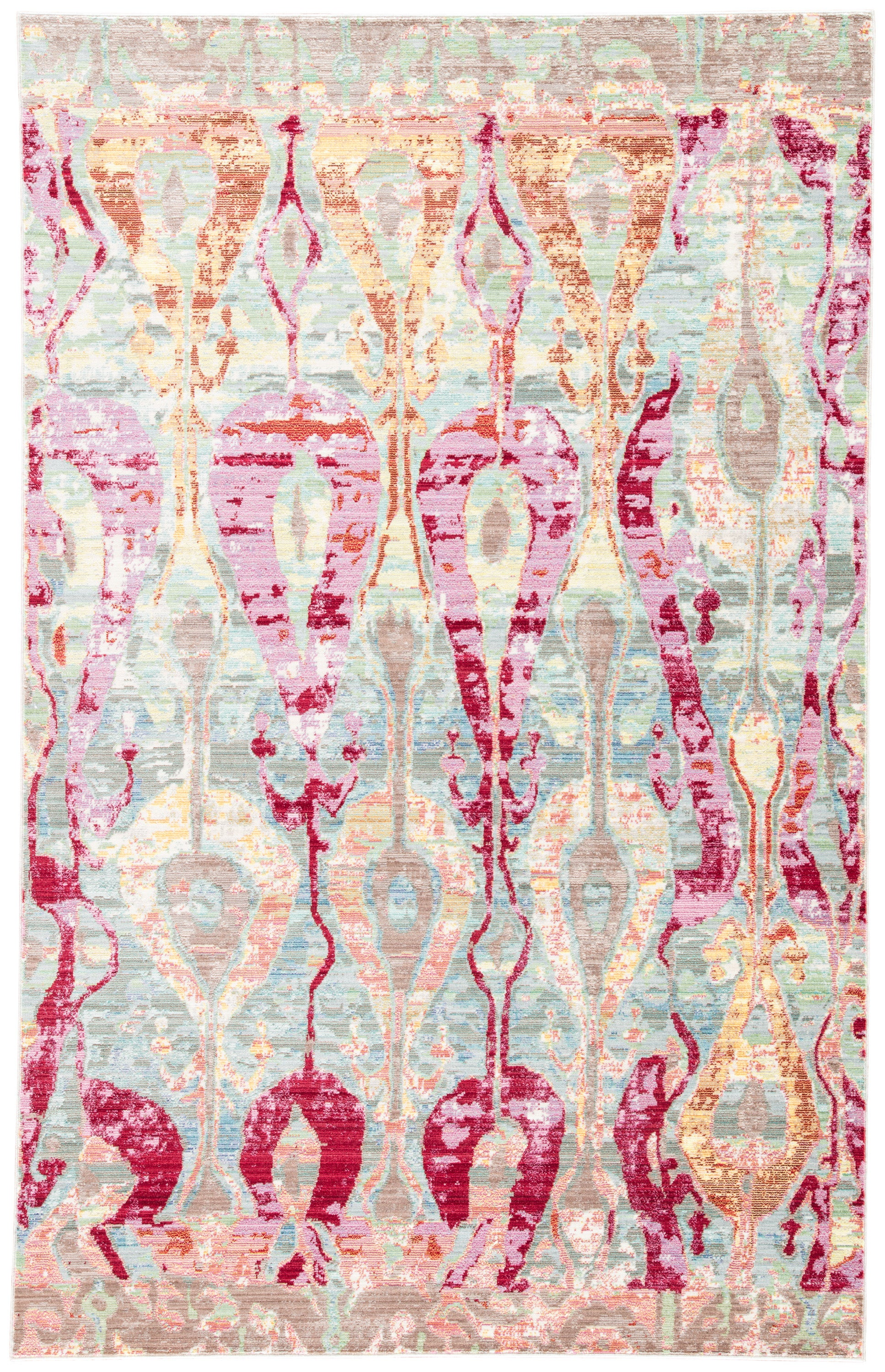 Rectangle Multicolor Ikat Machine Made Synthetics Contemporary recommended for Bedroom, Bathroom, Dining Room, Office, Hallway, Living Room
