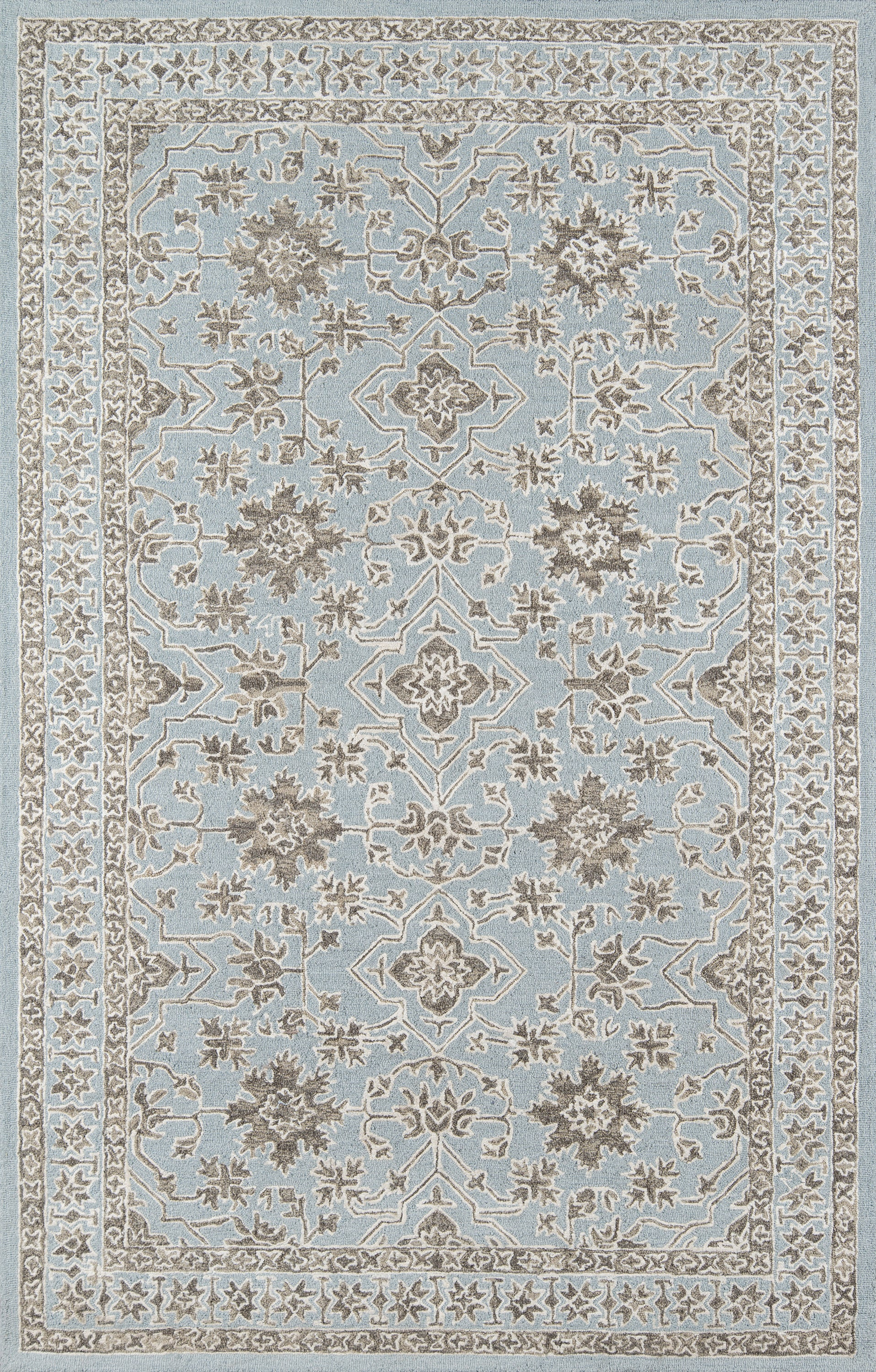 Rectangle Blue Oriental Hand Tufted Blends Traditional & Oriental recommended for Kitchen, Bedroom, Bathroom, Dining Room, Office, Hallway, Living Room