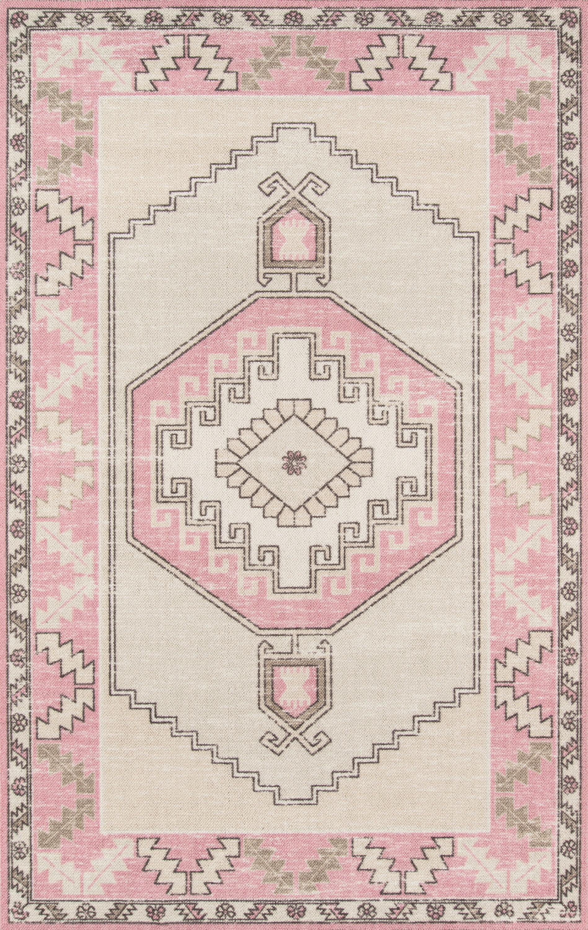 Rectangle Pink Medallion Machine Made Blends Updated Traditional recommended for Kitchen, Bedroom, Bathroom, Kids, Dining Room, Office, Hallway, Living Room