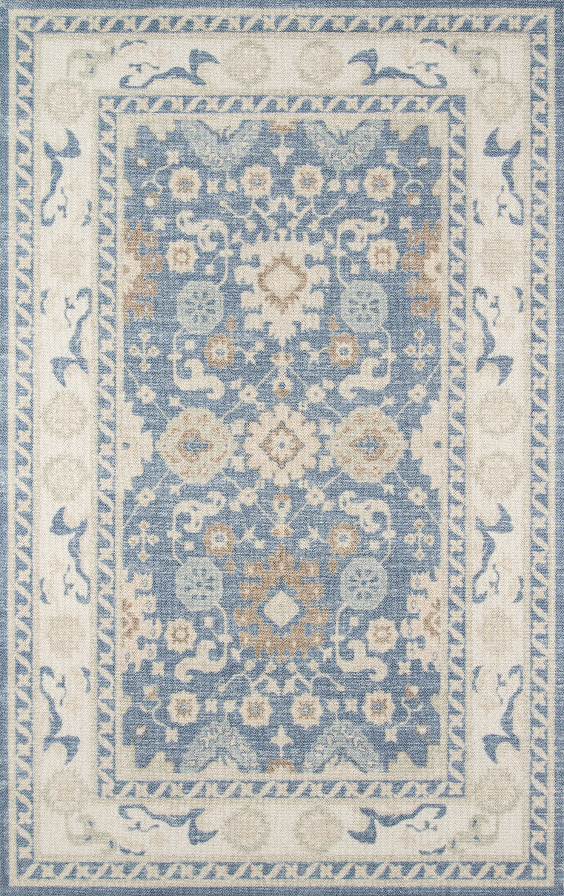 Rectangle Lightblue Oriental Machine Made Blends Updated Traditional recommended for Kitchen, Bedroom, Bathroom, Dining Room, Office, Hallway, Living Room