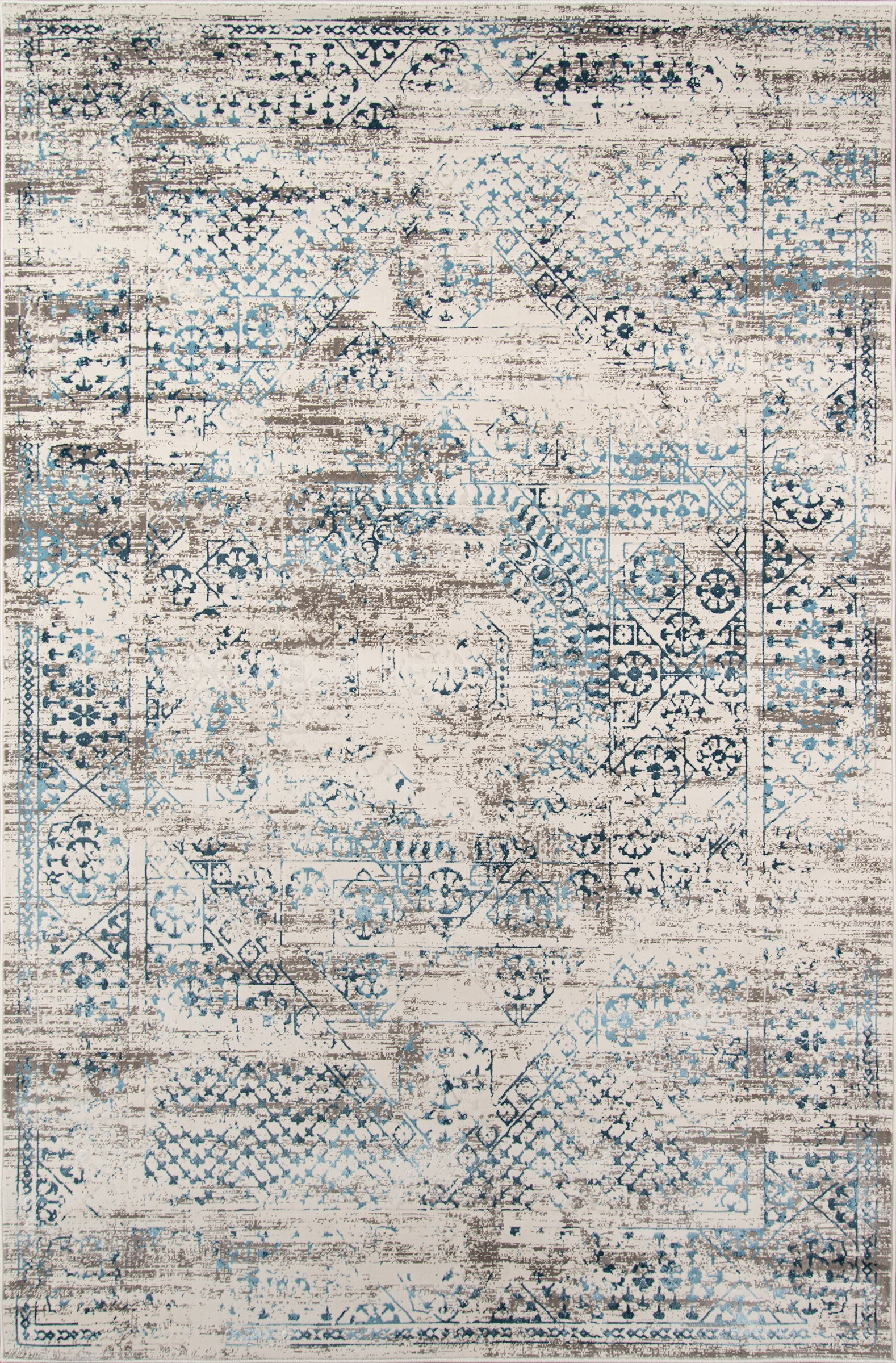 Rectangle 33x5 Blue Distressed Machine Made Synthetics Traditional & Oriental recommended for Kitchen, Bedroom, Bathroom, Dining Room, Office, Hallway, Living Room
