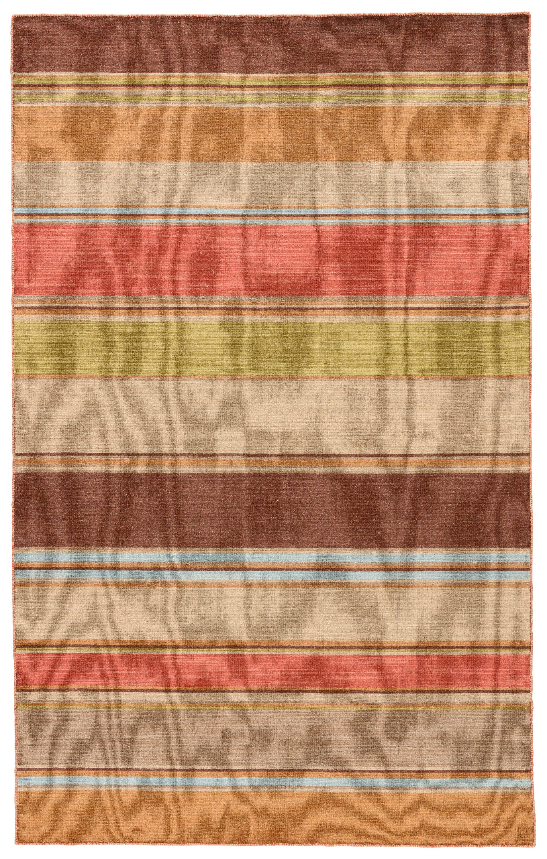 Rectangle Brown Stripe Dhurrie Wool Transitional recommended for Bedroom, Bathroom, Dining Room, Office, Hallway, Living Room