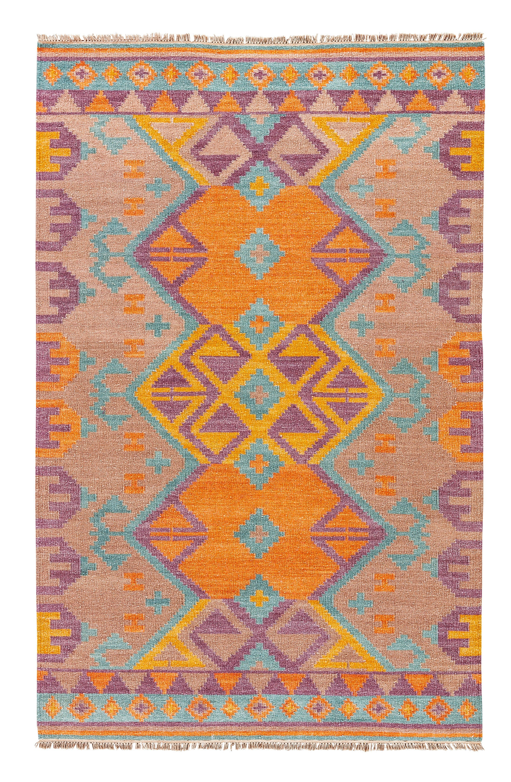 Rectangle Multicolor Geometric Dhurrie Wool Southwestern recommended for Bedroom, Bathroom, Dining Room, Office, Hallway, Living Room