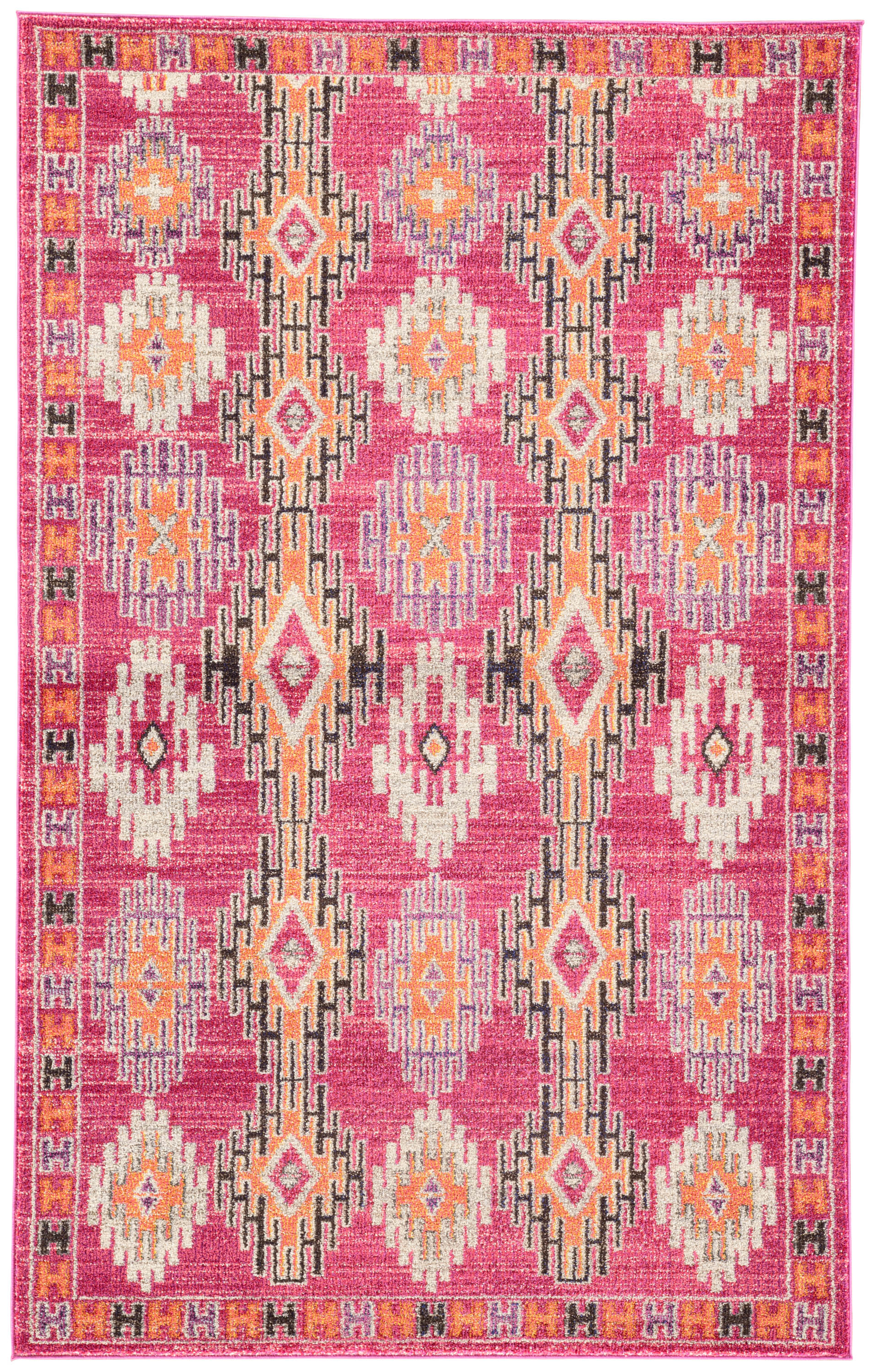 Rectangle Pink Geometric Machine Made Synthetics Contemporary recommended for Kitchen, Bedroom, Bathroom, Kids, Dining Room, Office, Hallway, Living Room