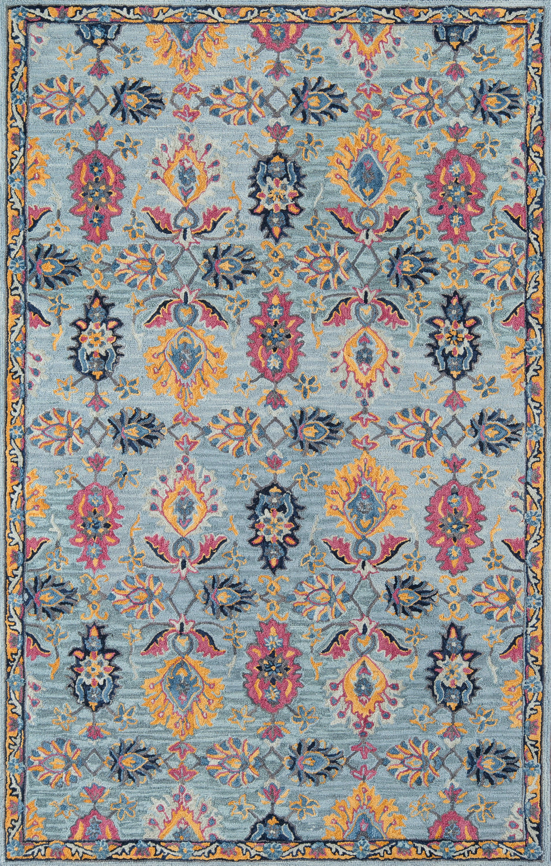 Rectangle Blue Oriental Hand Tufted Wool Traditional & Oriental recommended for Kitchen, Bedroom, Bathroom, Dining Room, Office, Hallway, Living Room