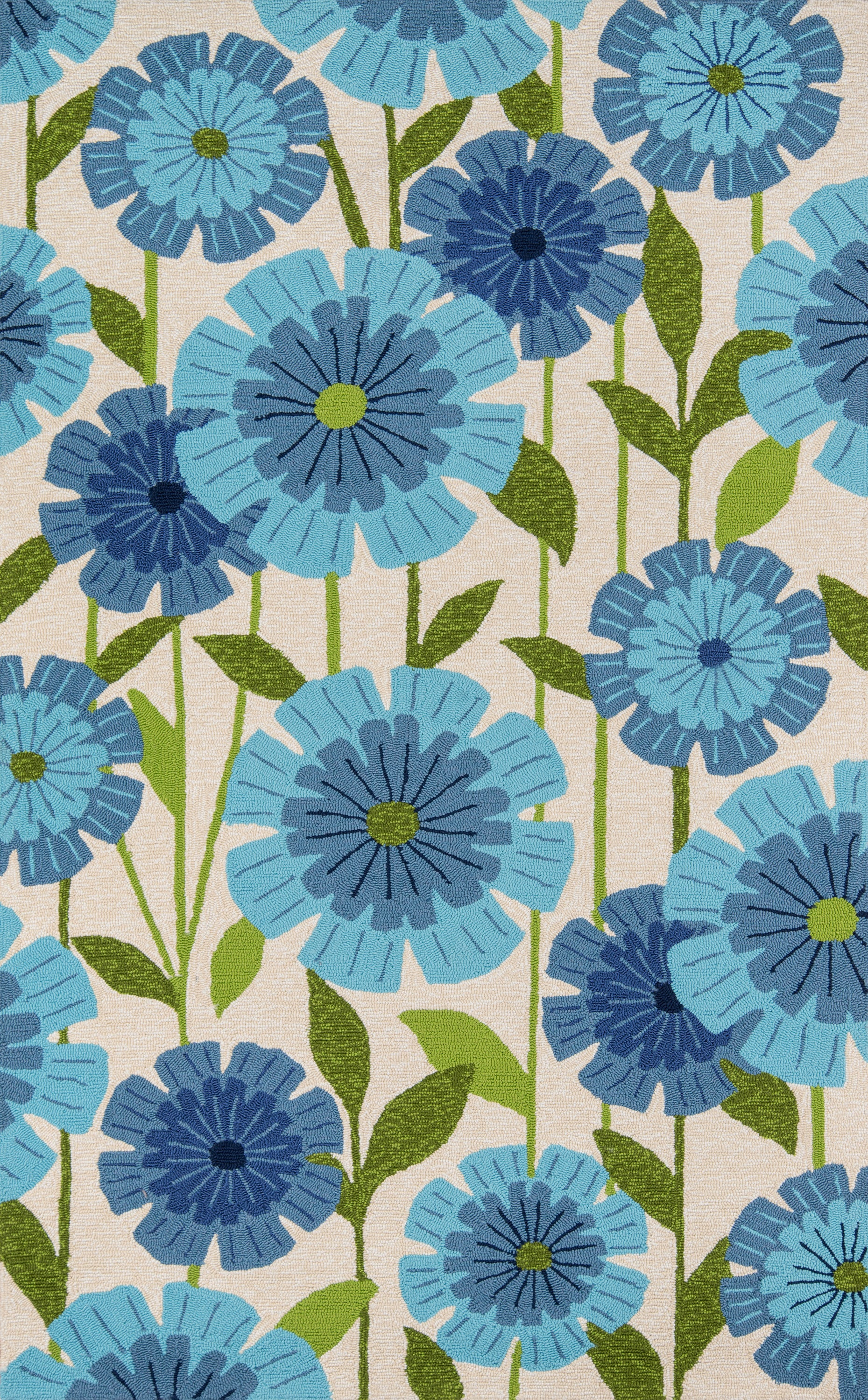 Rectangle, Round Blue Floral Hand Hooked Synthetics Casual recommended for Bedroom, Bathroom, Outdoor, Dining Room, Office, Hallway, Living Room