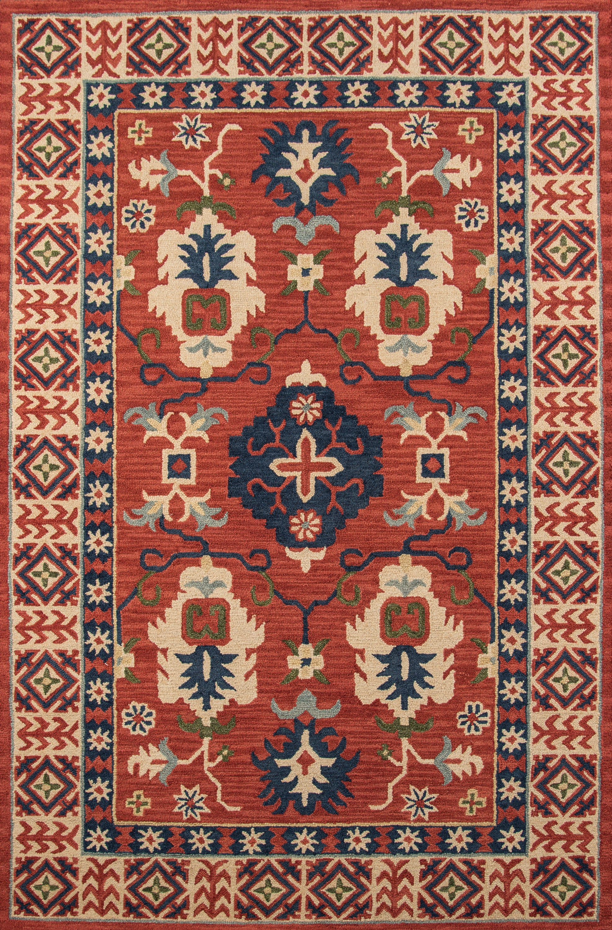 Rectangle 5x8 Red Oriental Hand Tufted Wool Traditional & Oriental recommended for Kitchen, Bedroom, Bathroom, Dining Room, Office, Hallway, Living Room