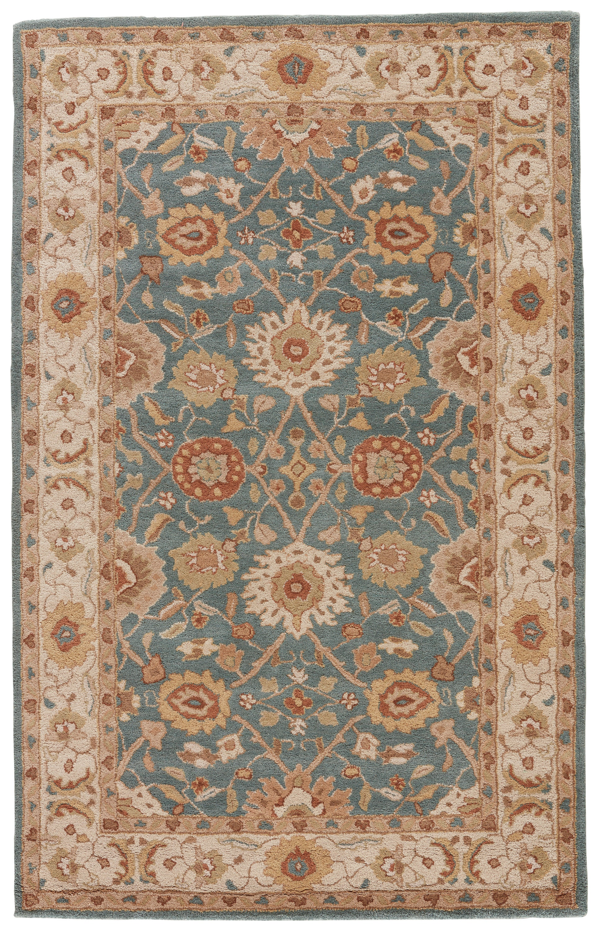 Rectangle Blue Floral Hand Tufted Wool Traditional & Oriental recommended for Bedroom, Bathroom, Office, Hallway, Living Room