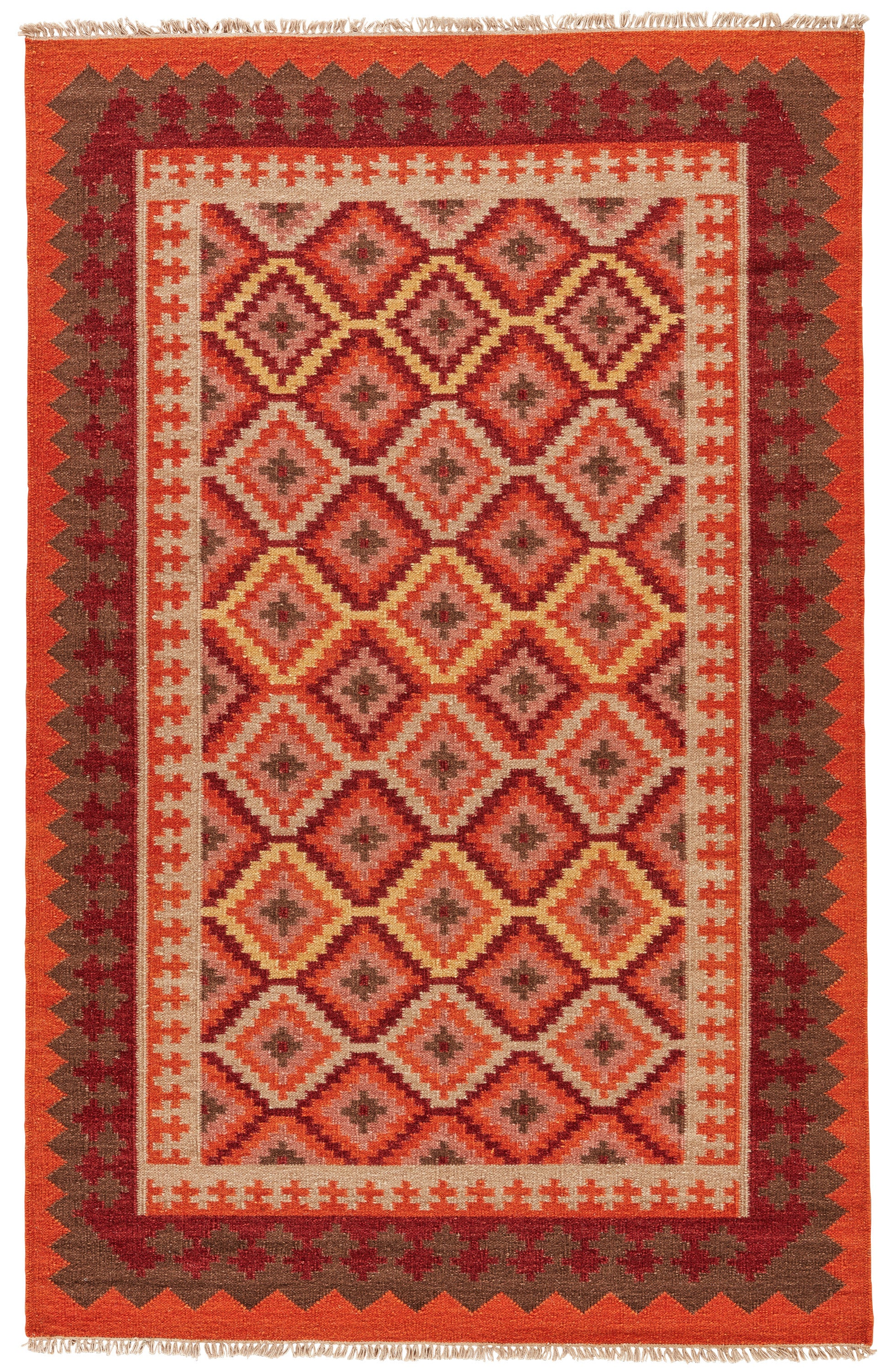 Rectangle Orange Geometric Dhurrie Wool Southwestern recommended for Bedroom, Bathroom, Dining Room, Office, Hallway, Living Room