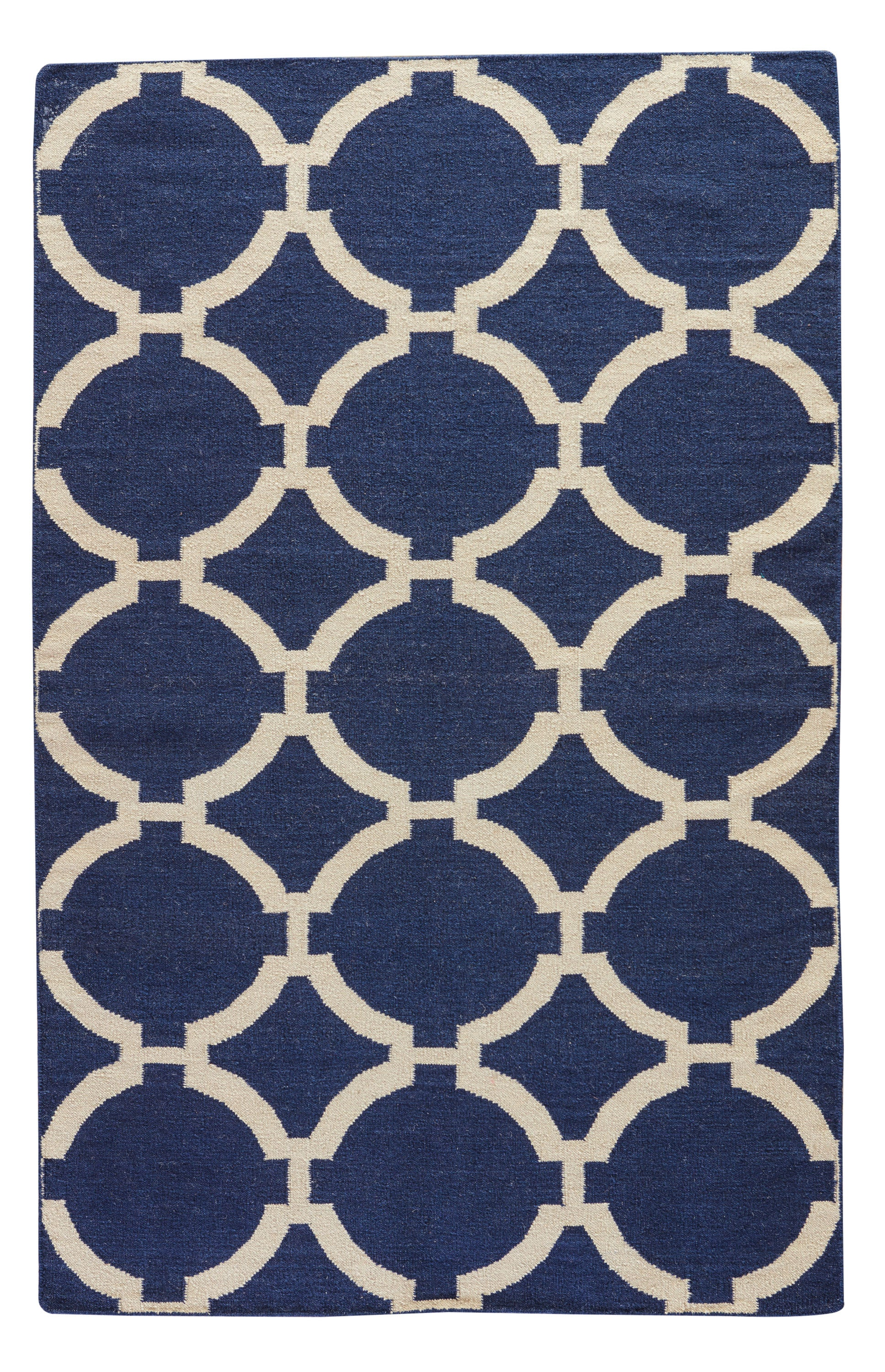 Rectangle Blue Trellis Dhurrie Wool Contemporary recommended for Kitchen, Bedroom, Bathroom, Dining Room, Office, Hallway, Living Room