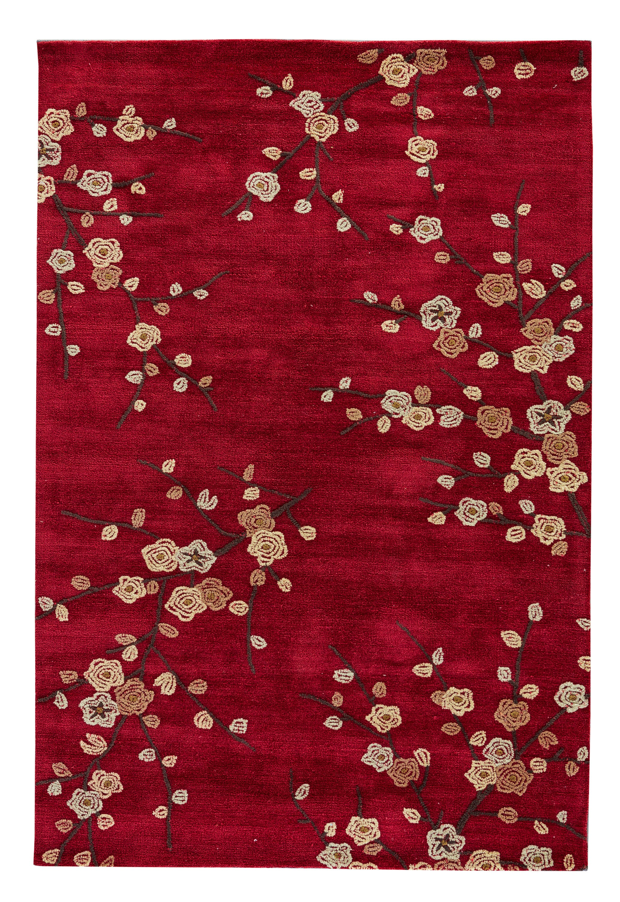 Rectangle, Round 5x76 Red Floral Hand Tufted Synthetics Transitional recommended for Bedroom, Bathroom, Dining Room, Office, Hallway, Living Room