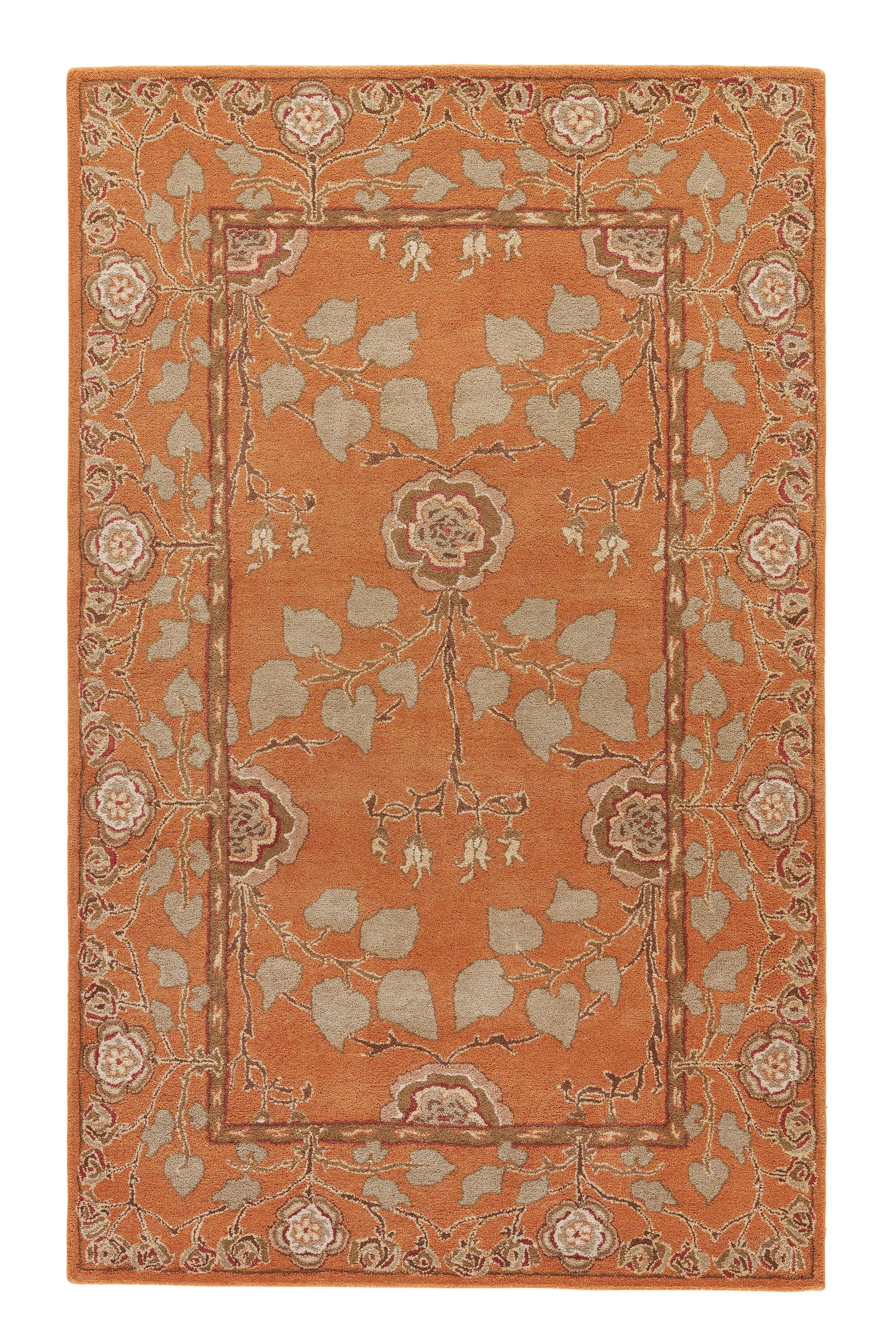 Rectangle 5x8 Orange Floral Hand Tufted Wool Traditional & Oriental recommended for Kitchen, Bedroom, Bathroom, Dining Room, Office, Hallway, Living Room