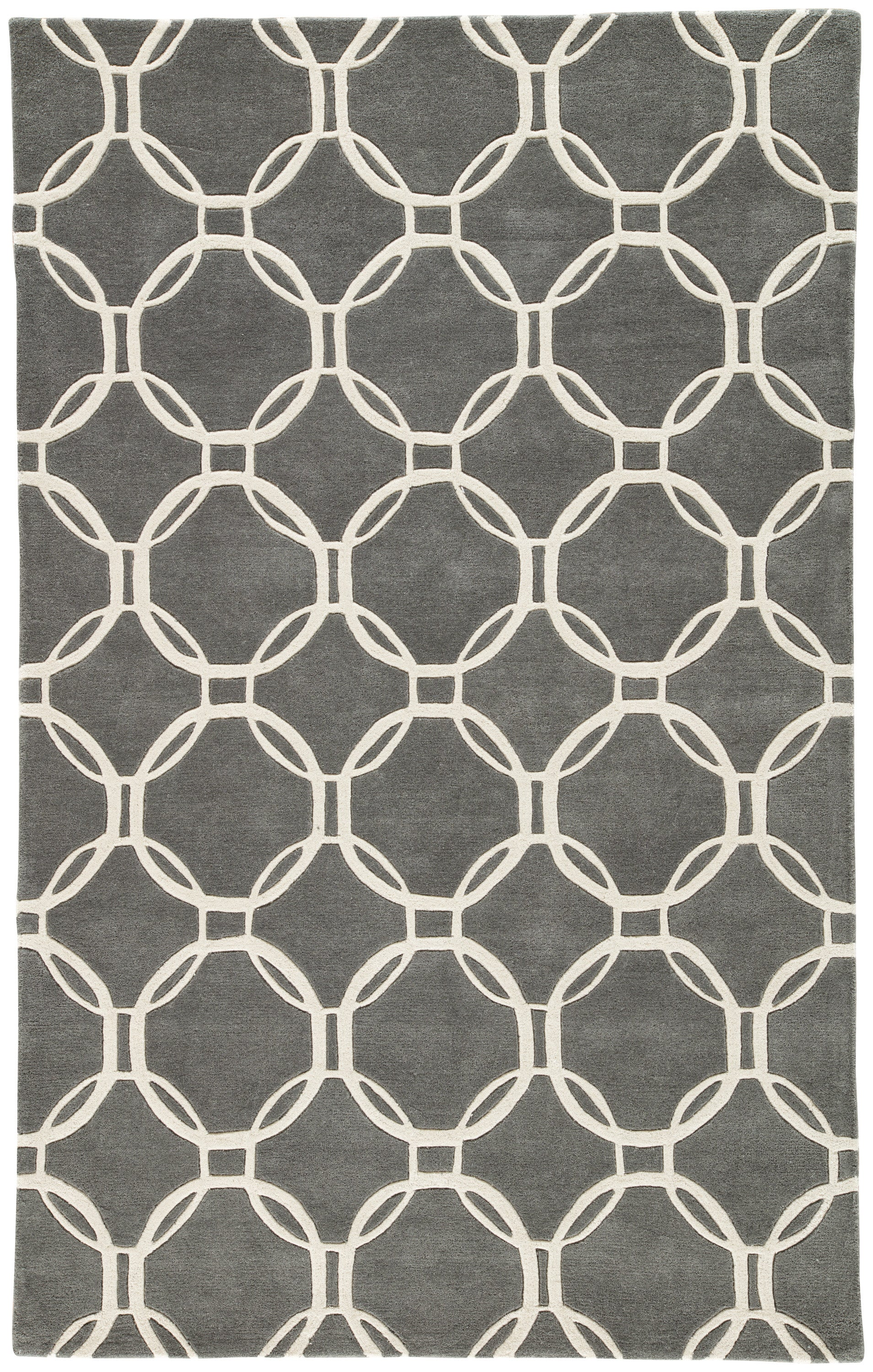 Rectangle, Round, Square 96x136 Gray Trellis Hand Tufted Wool Modern recommended for Bedroom, Bathroom, Dining Room, Office, Hallway, Living Room