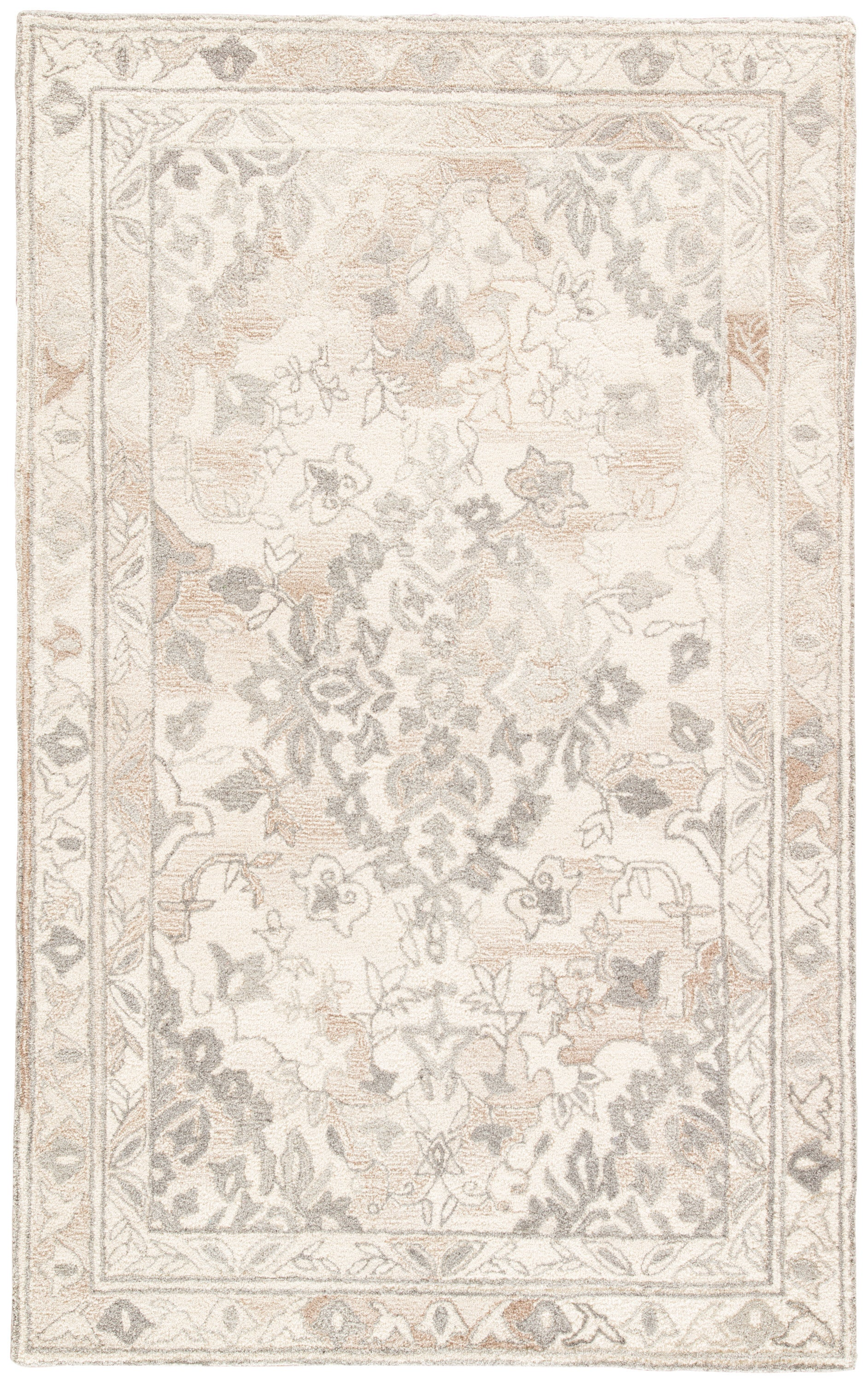 Rectangle White Floral Hand Tufted Wool Transitional recommended for Bedroom, Bathroom, Dining Room, Office, Hallway, Living Room
