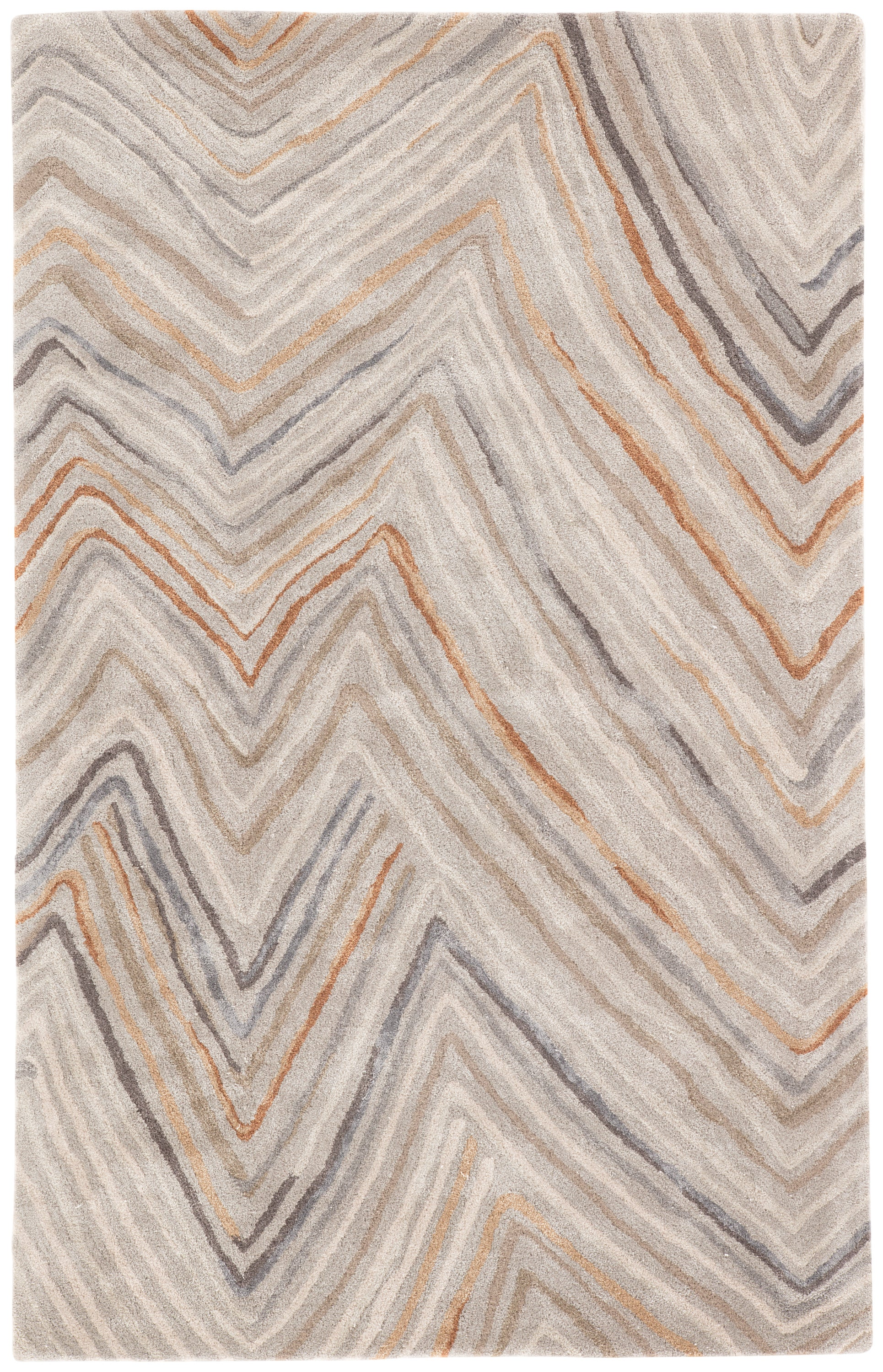 Rectangle 5x8 Orange Chevron Hand Tufted Blends Modern recommended for Bedroom, Bathroom, Dining Room, Office, Hallway, Living Room