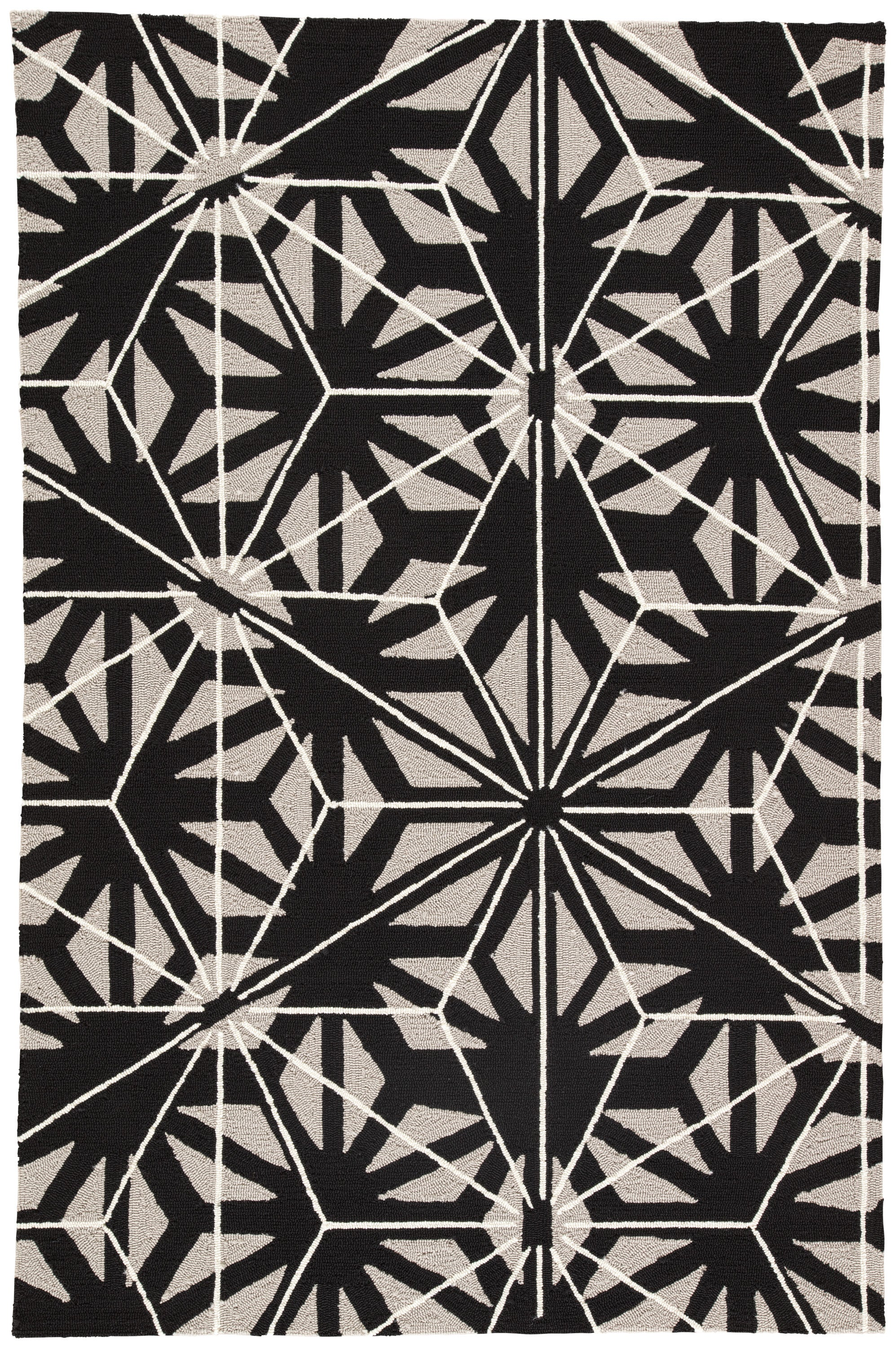 Rectangle Black Geometric Hand Hooked Synthetics Contemporary recommended for Bedroom, Bathroom, Outdoor, Dining Room, Office, Hallway, Living Room