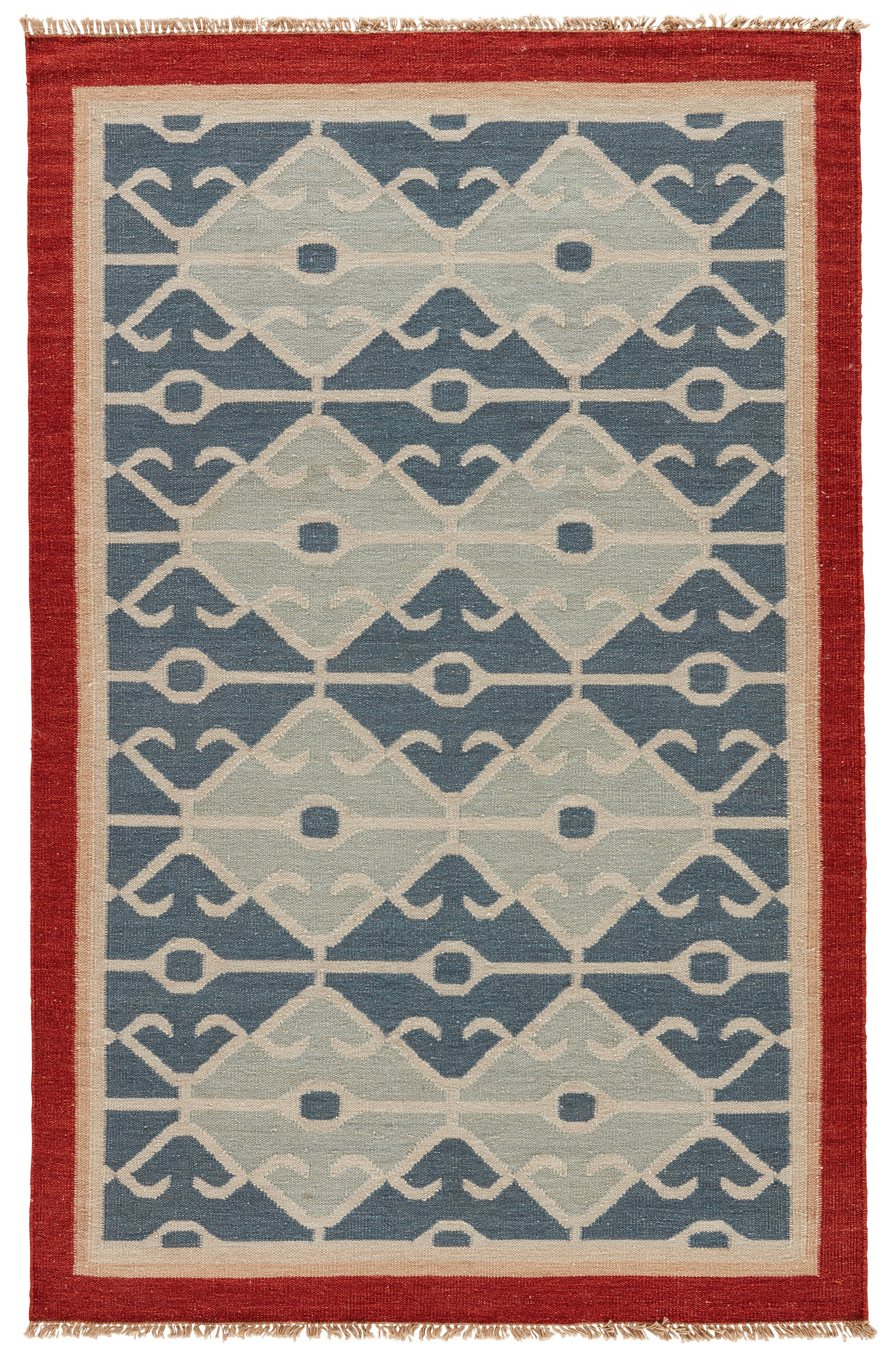 Rectangle Blue Geometric Dhurrie Wool Southwestern recommended for Bedroom, Living Room, Dining Room, Office