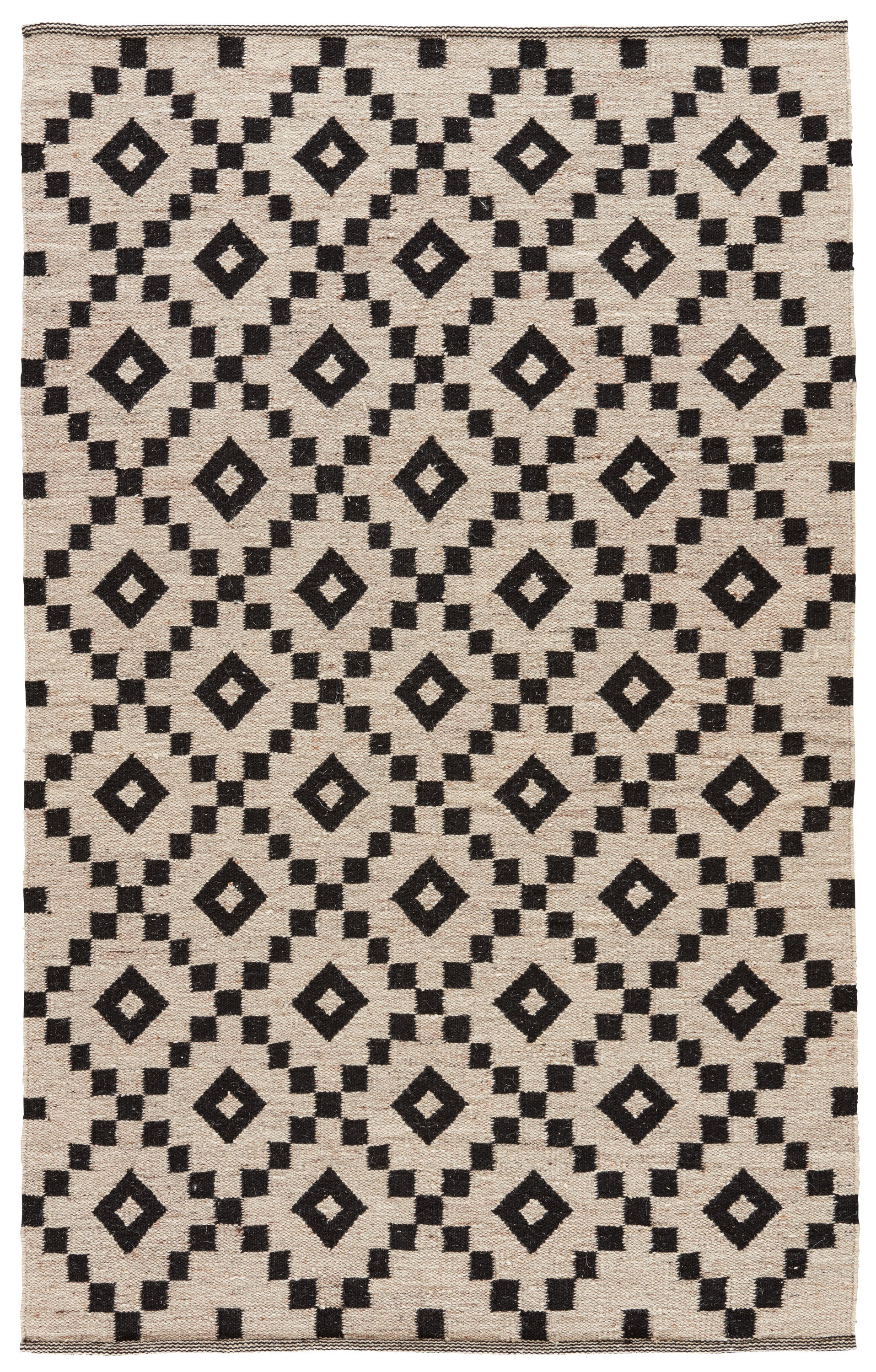 Rectangle Black Geometric Dhurrie Wool Modern recommended for Kitchen, Bedroom, Bathroom, Dining Room, Office, Hallway, Living Room