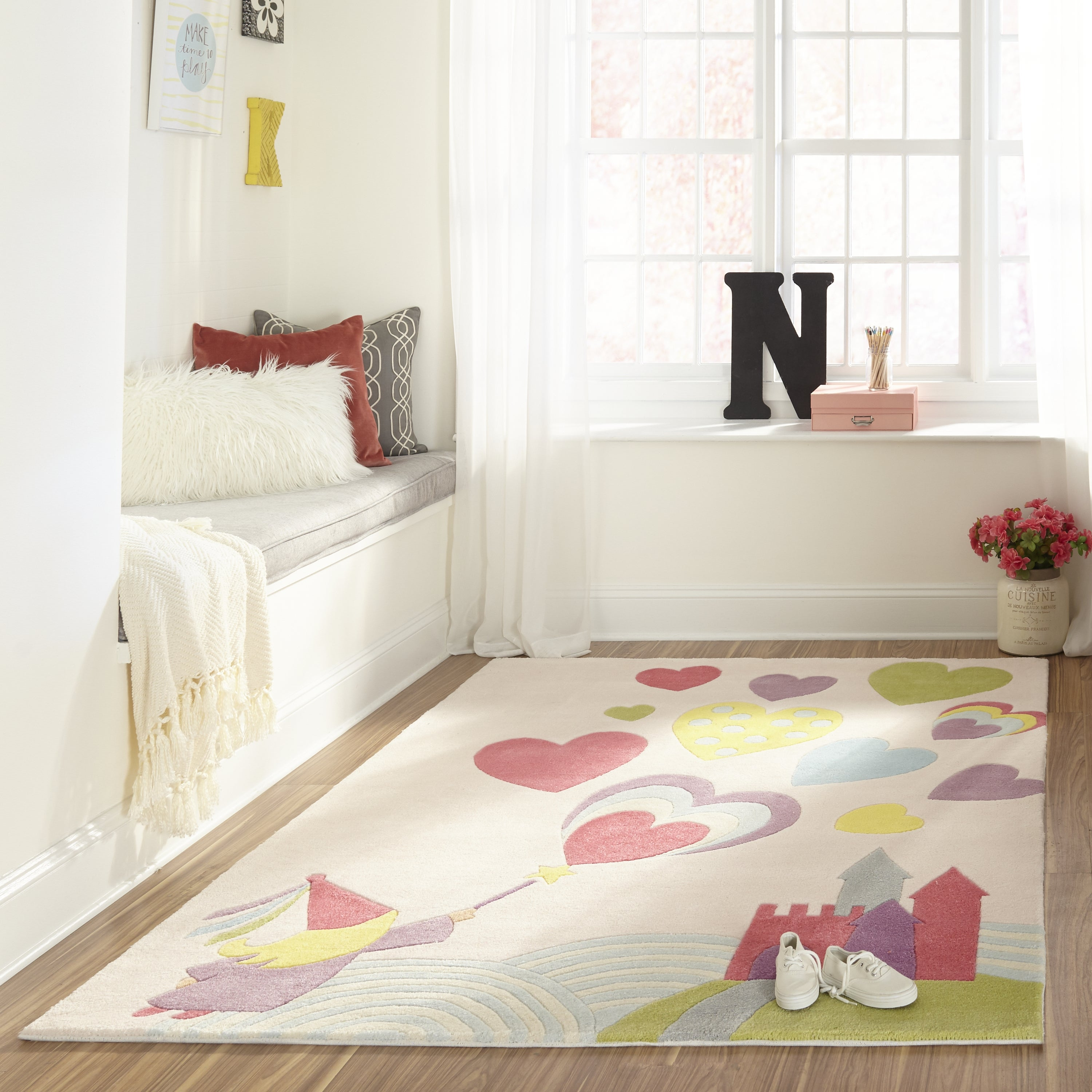 Rectangle, Round Pink Novelty Hand Tufted Synthetics Contemporary recommended for Kids