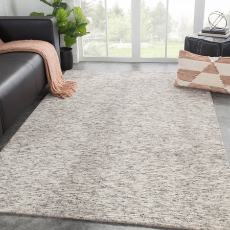 Rectangle 2x3 Gray Solid Hand Loomed Wool Transitional Recommended For Bedroom Bathroom Dining Room