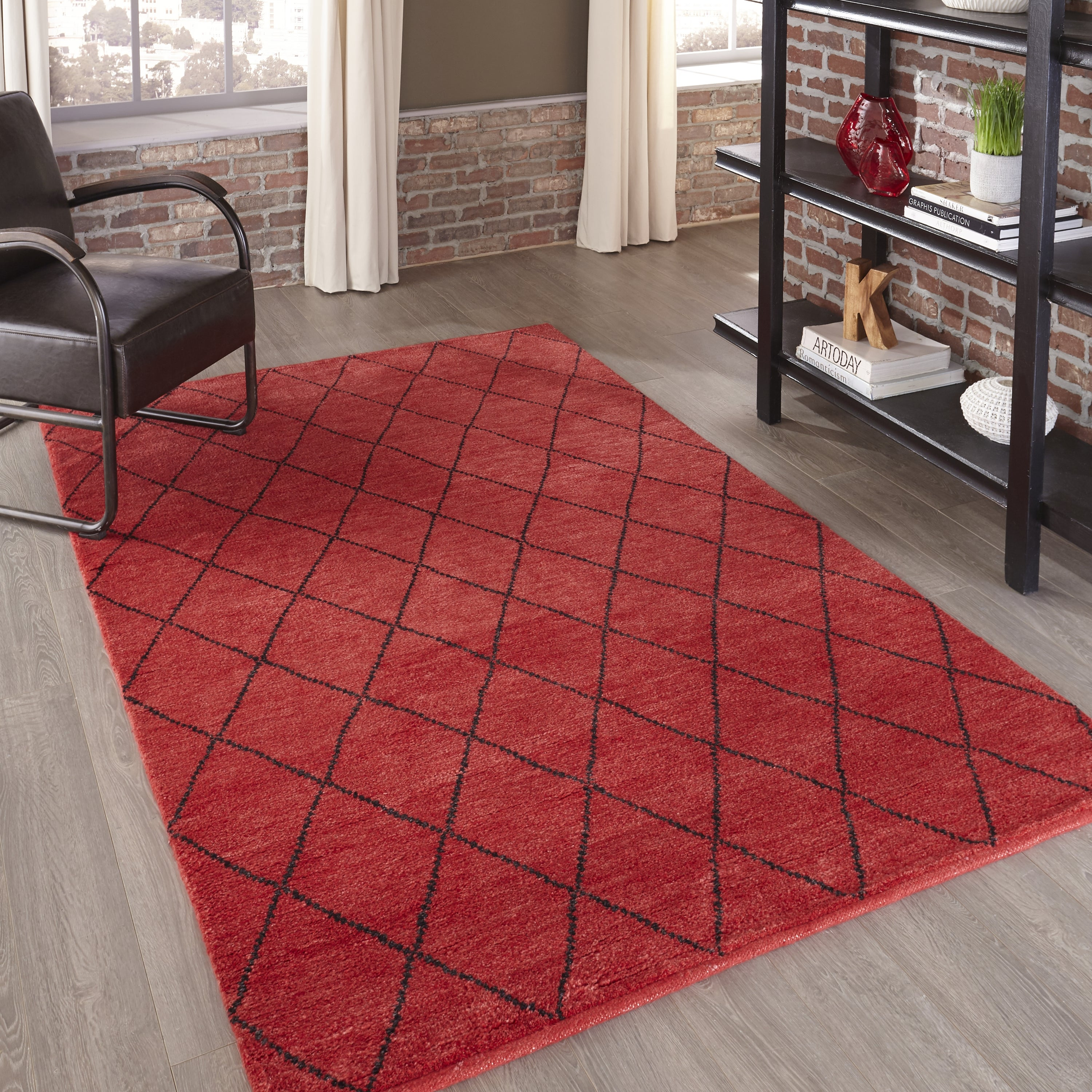 Rectangle Red Geometric Hand Knotted Wool Transitional recommended for Kitchen, Bedroom, Bathroom, Dining Room, Office, Hallway, Living Room