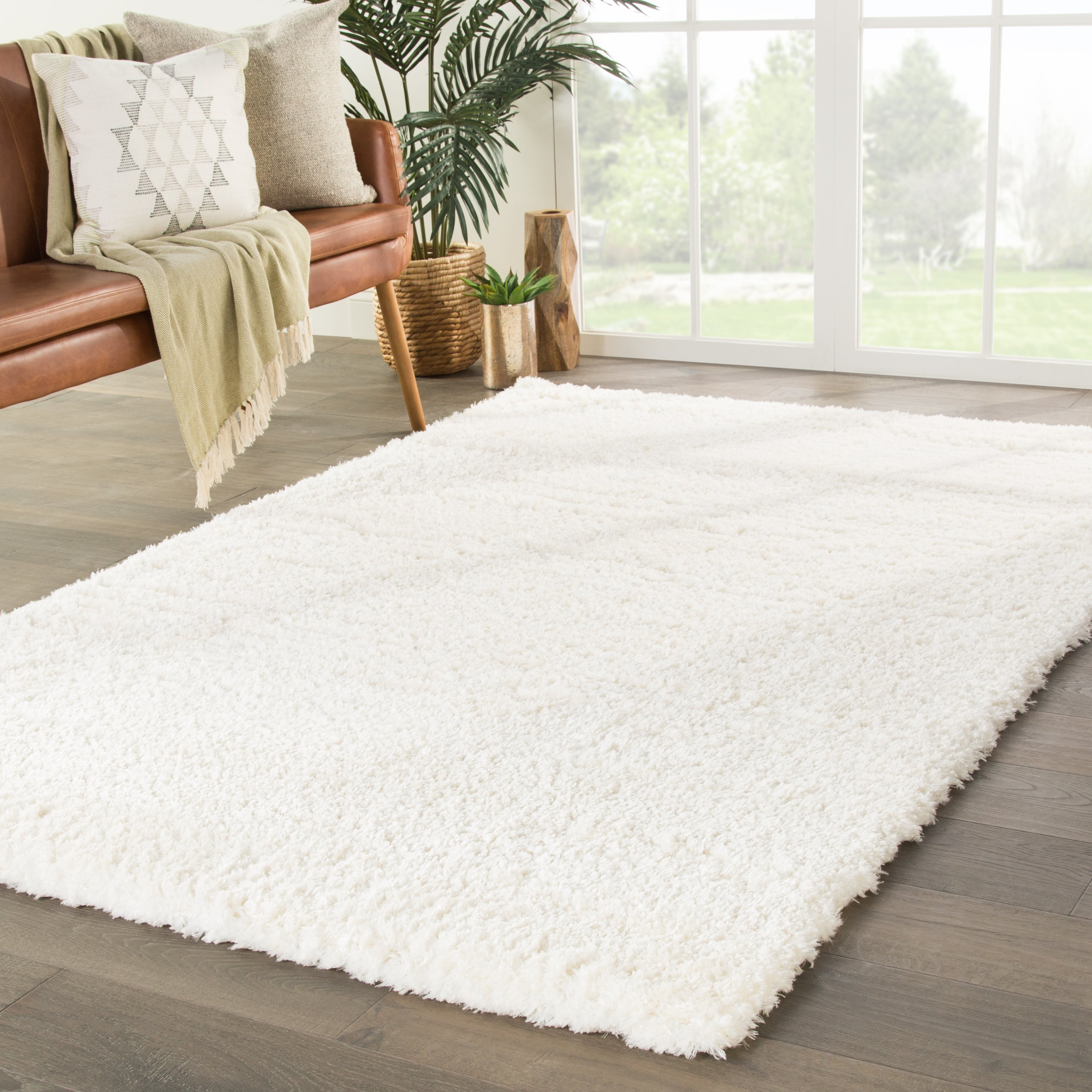 Rectangle White Solid Shag Synthetics Shag recommended for Bedroom, Bathroom, Dining Room, Office, Hallway, Living Room