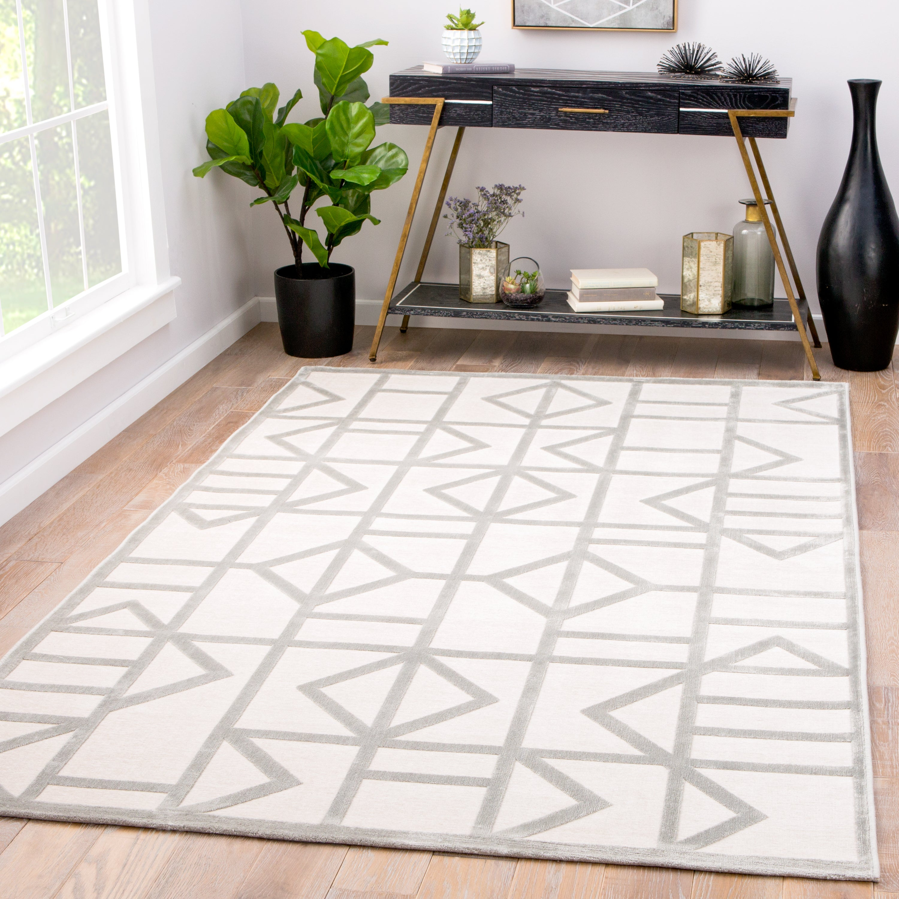 Rectangle White Geometric Machine Made Synthetics Modern recommended for Bedroom, Bathroom, Dining Room, Office, Hallway, Living Room