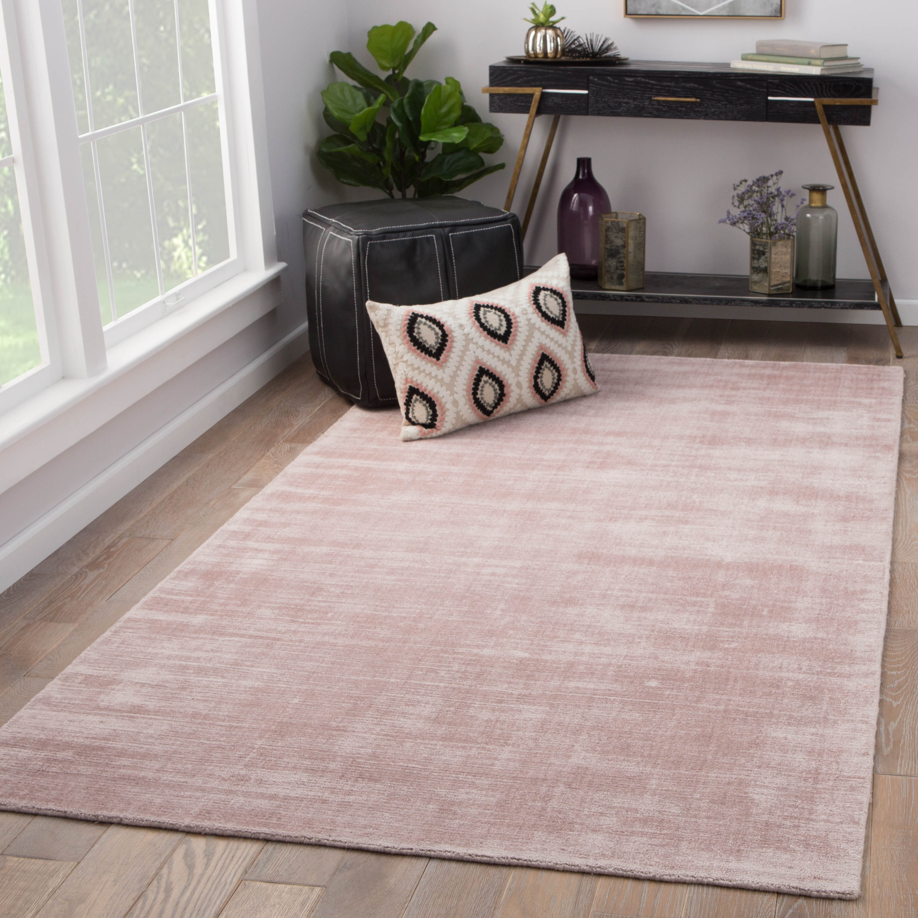 Rectangle Pink Solid Hand Loomed Synthetics Contemporary recommended for Bedroom, Bathroom, Kids, Dining Room, Office, Hallway, Living Room