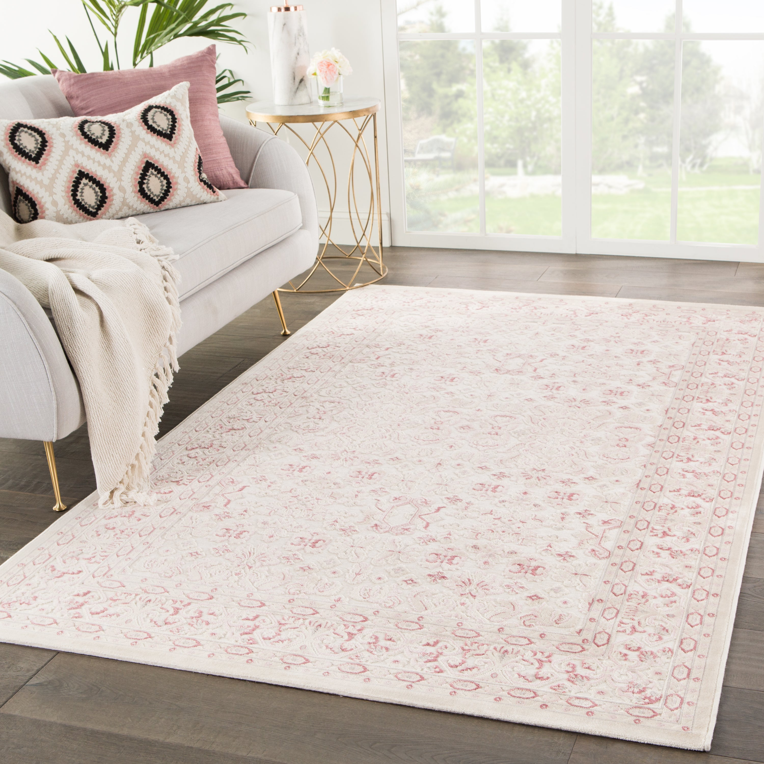 Rectangle Pink Damask Machine Made Synthetics Contemporary recommended for Kitchen, Bedroom, Bathroom, Dining Room, Office, Hallway, Living Room