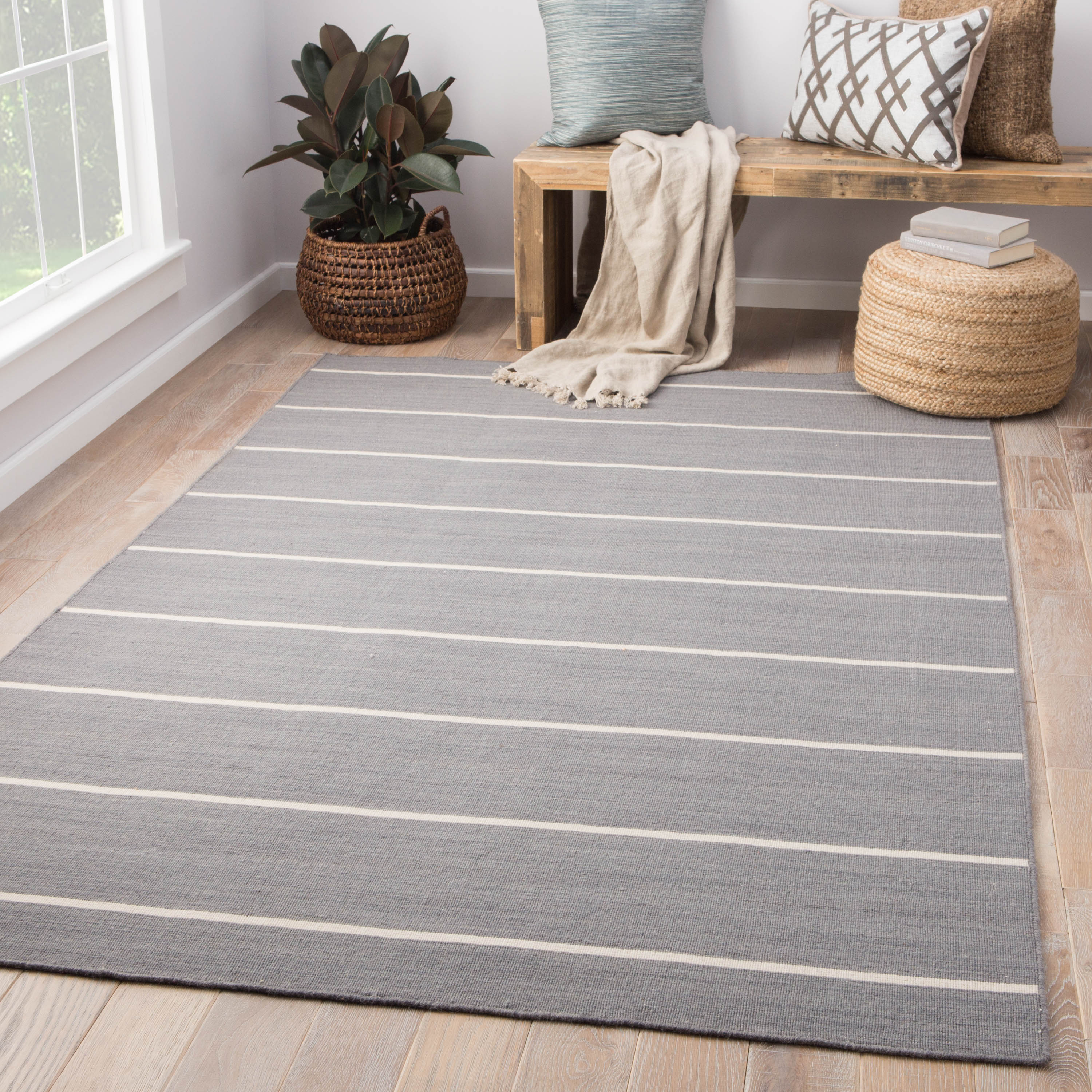 Rectangle 12x15 Gray Stripe Hand Woven Wool Casual recommended for Kitchen, Bedroom, Bathroom, Dining Room, Office, Hallway, Living Room