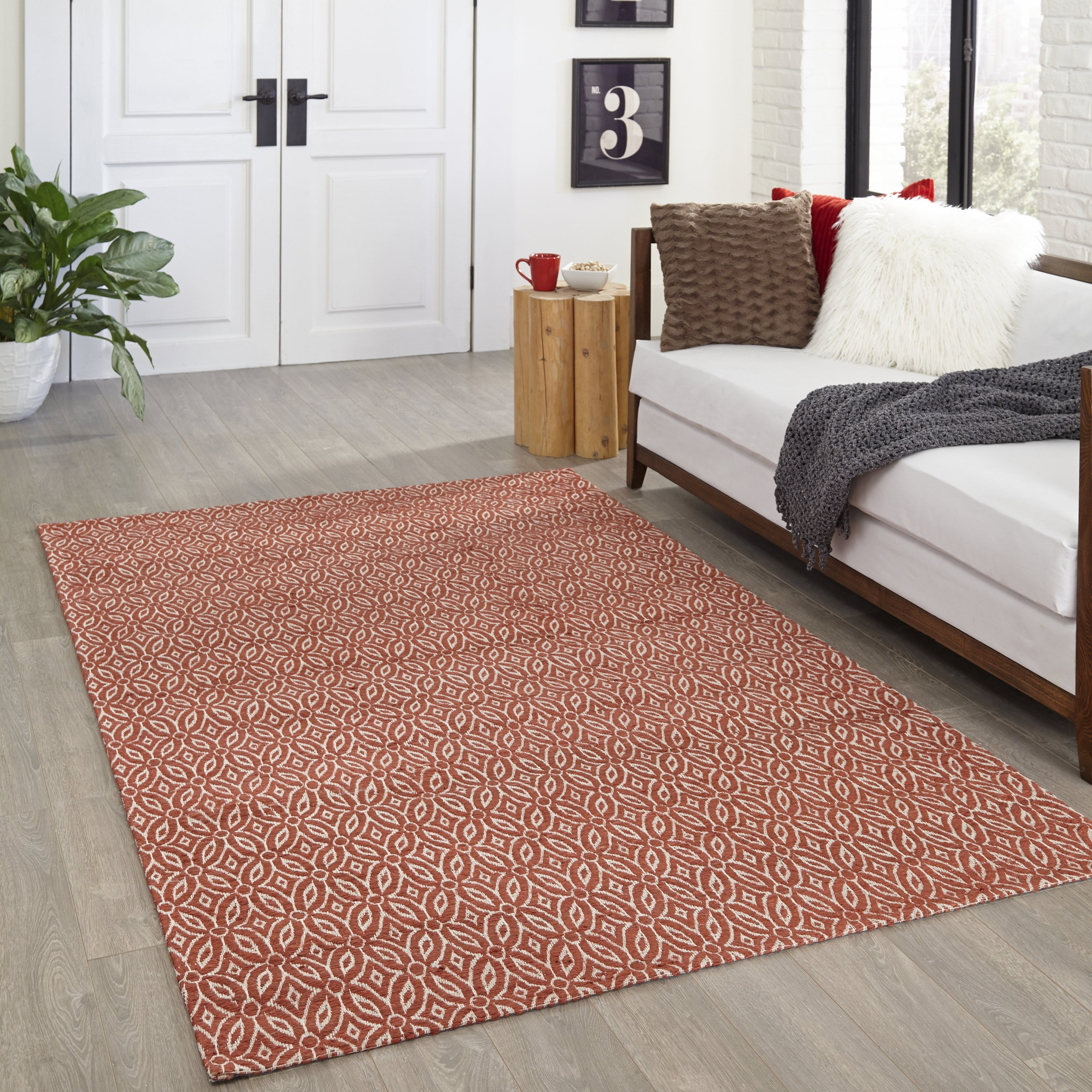 Rectangle Red Geometric Hand Woven Jute & Natural Fibers Transitional recommended for Kitchen, Bedroom, Bathroom, Dining Room, Office, Hallway, Living Room
