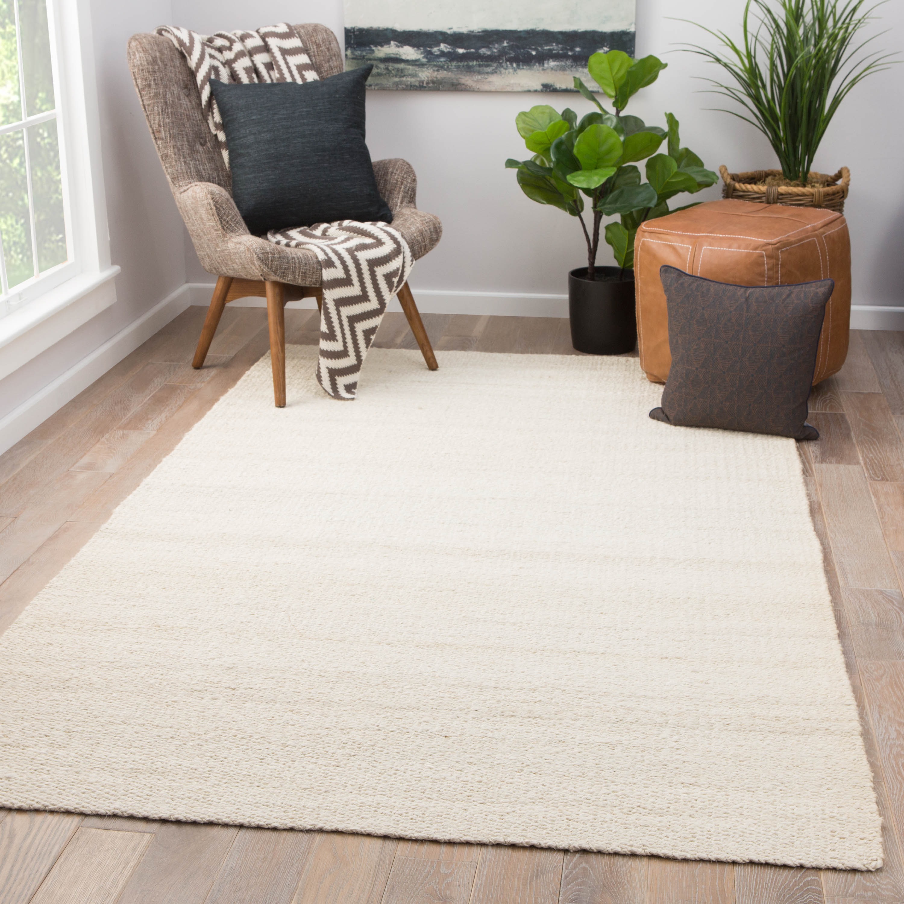 Rectangle White Solid Hand Loomed Jute & Natural Fibers Contemporary recommended for Bedroom, Bathroom, Dining Room, Office, Hallway, Living Room