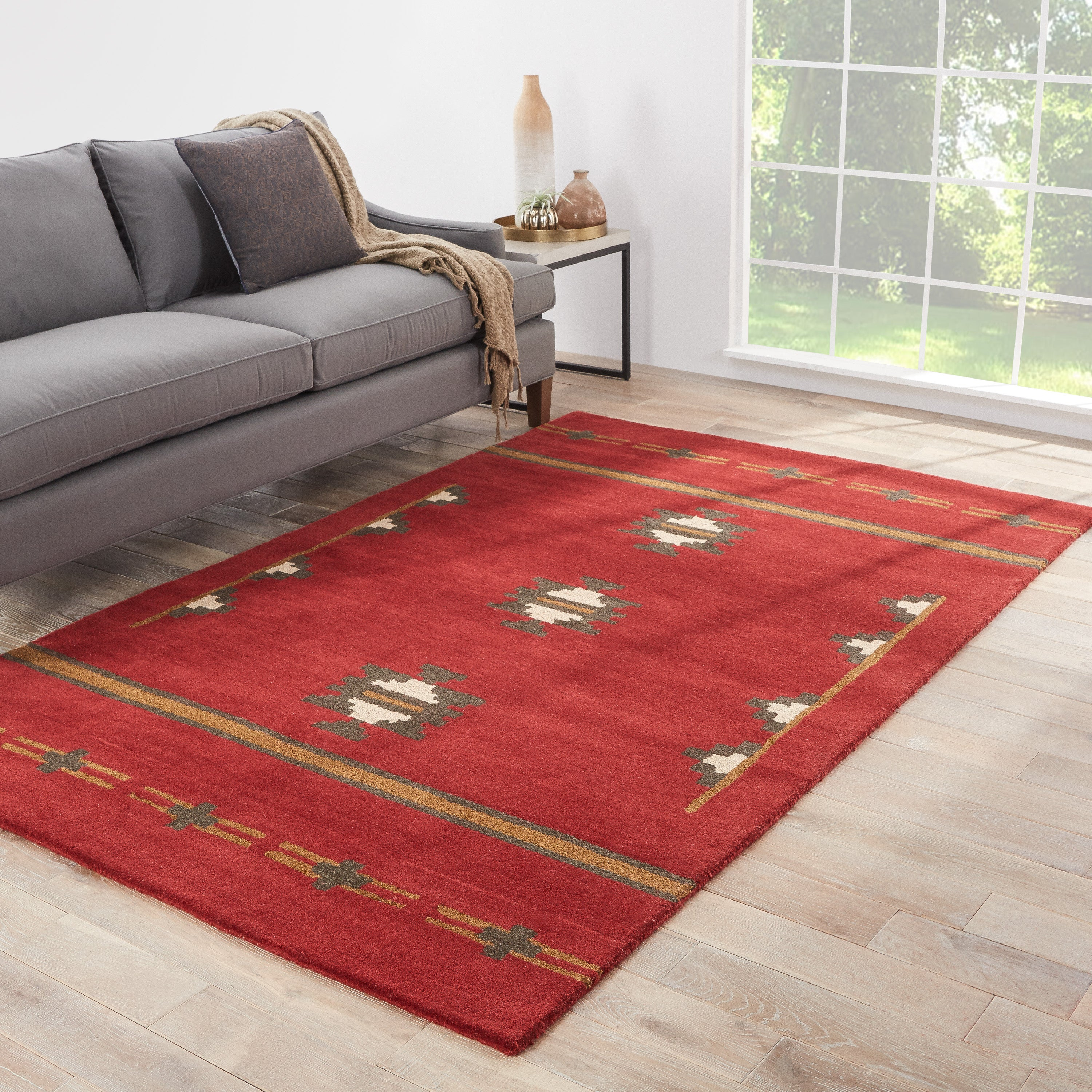 Rectangle Red Medallion Hand Tufted Wool Southwestern recommended for Bedroom, Bathroom, Dining Room, Office, Hallway, Living Room