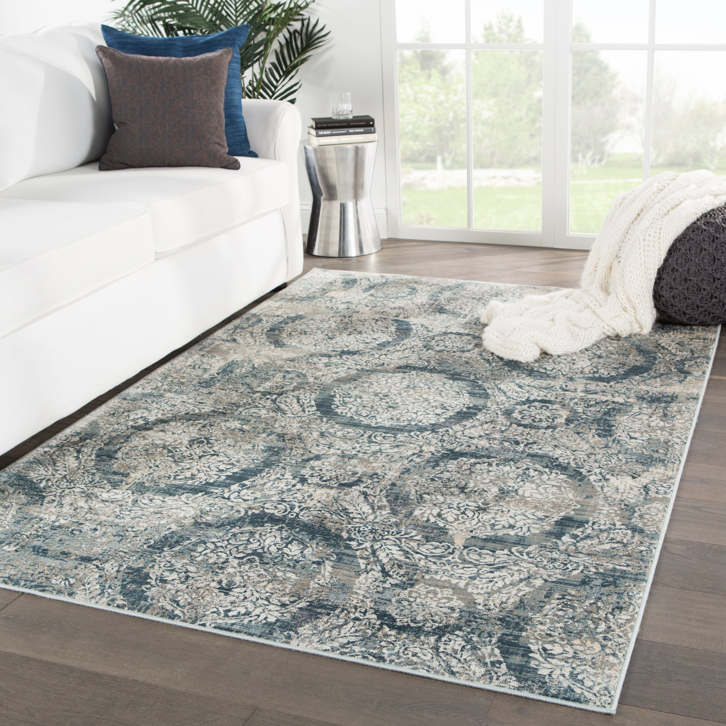 Rectangle Blue Damask Machine Made Synthetics Contemporary recommended for Kitchen, Bedroom, Bathroom, Dining Room, Office, Hallway, Living Room