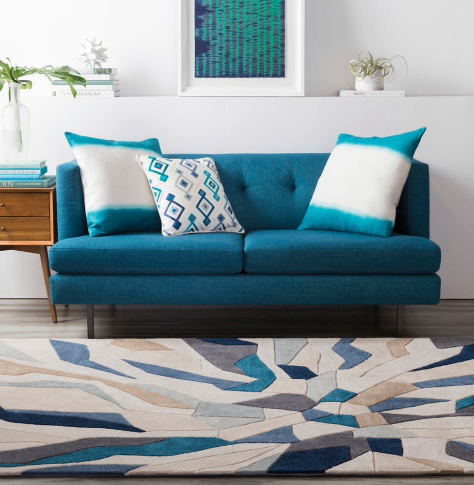 Rectangle, Round Blue Abstract Hand Tufted Synthetics Modern recommended for Kitchen, Bedroom, Bathroom, Dining Room, Office, Hallway, Living Room