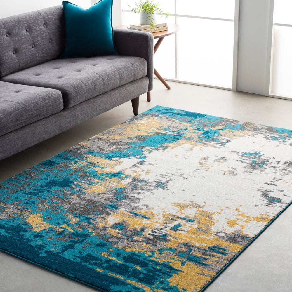 Rectangle Blue Abstract Machine Made Synthetics Modern recommended for Bedroom, Bathroom, Dining Room, Office, Hallway, Living Room