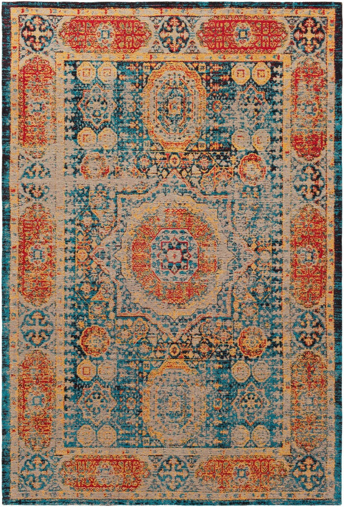 Rectangle Orange Medallion Hand Woven Blends Updated Traditional recommended for Bedroom, Bathroom, Dining Room, Office, Hallway, Living Room